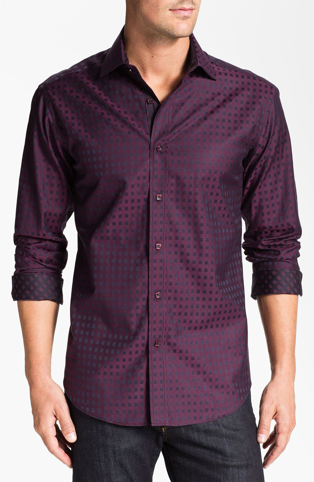Alternate Image 1 Selected - Bugatchi Uomo Shaped Fit Sport Shirt