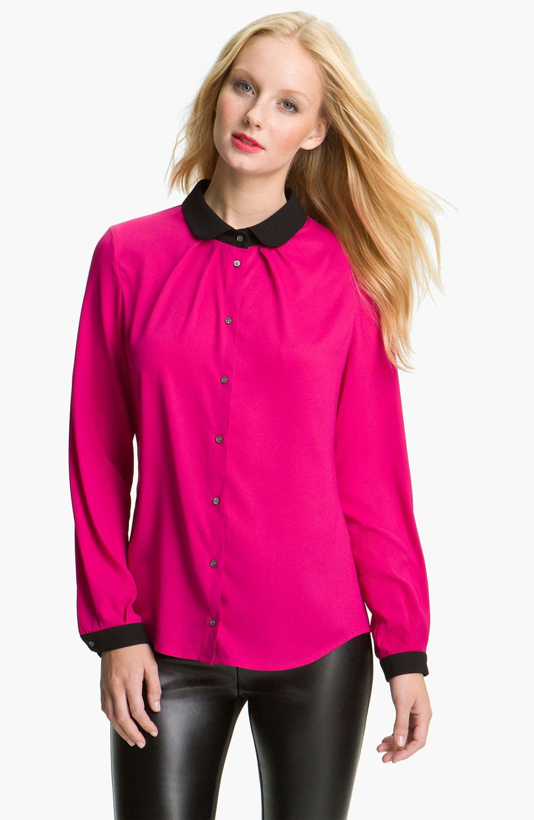 Alternate Image 1 Selected - Vince Camuto Contrast Trim Blouse (Petite)