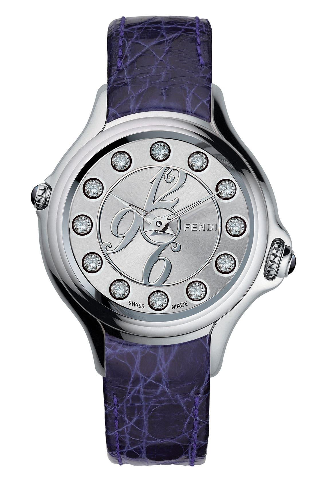 Alternate Image 3  - Fendi 'Crazy Carats' Teju Lizardskin Strap Watch, 38mm