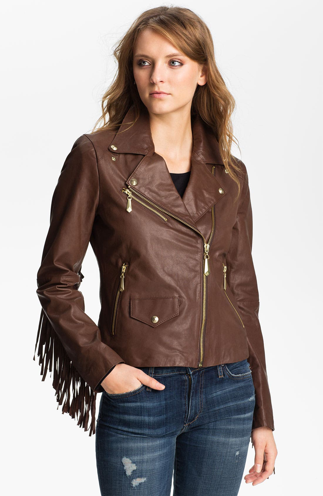 Alternate Image 1 Selected - Sam Edelman Fringed Asymmetrical Leather Jacket