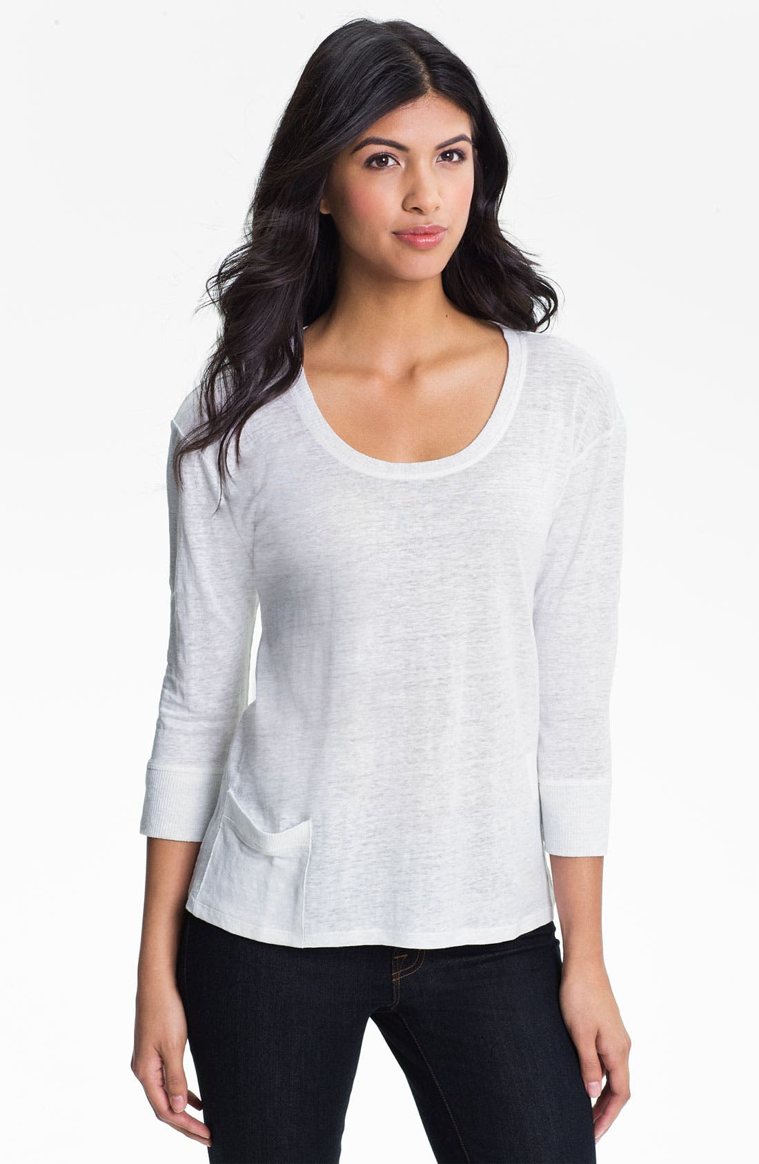 Alternate Image 1 Selected - Eileen Fisher Scoop Neck Linen Jersey Top