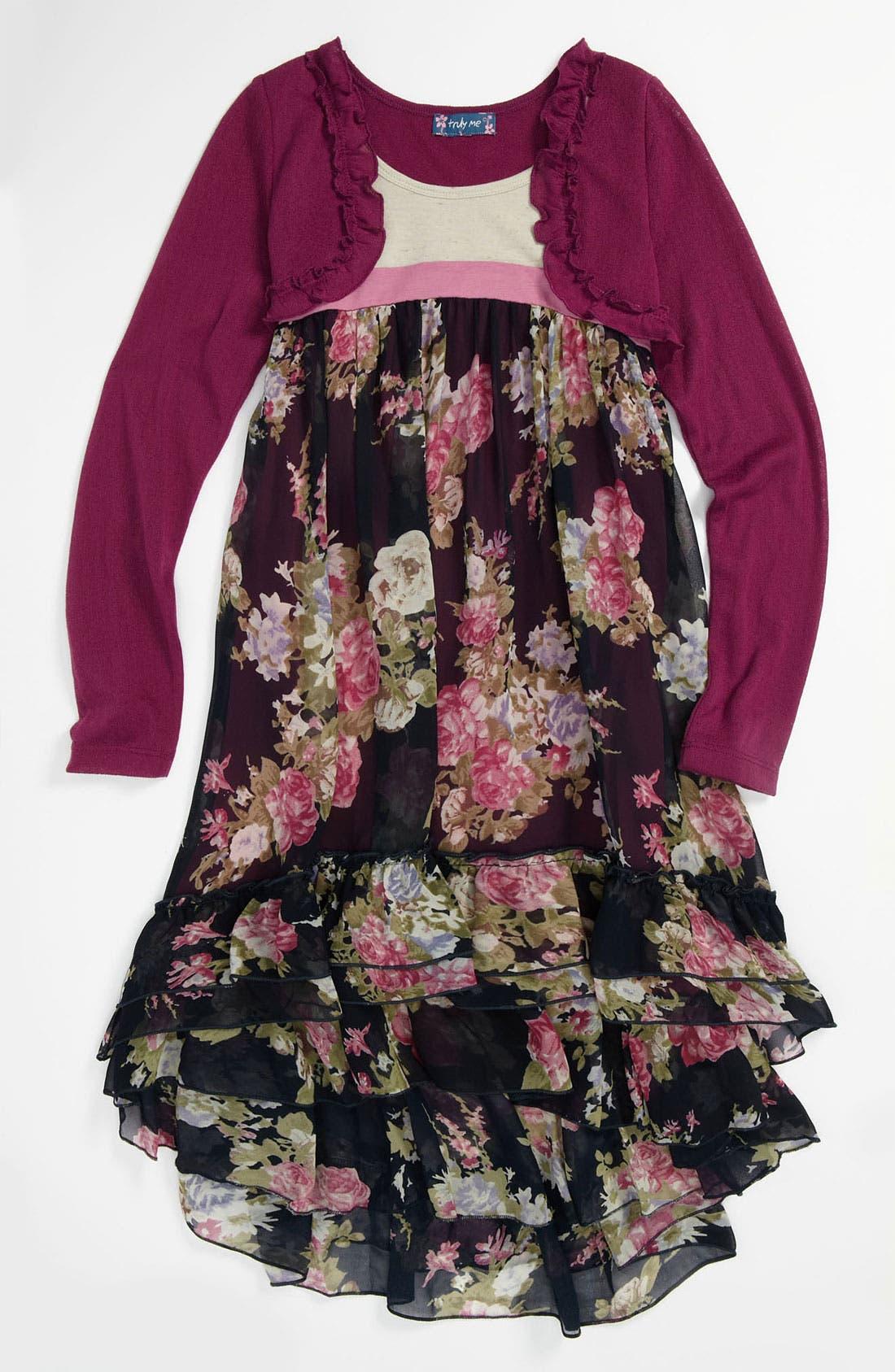 Main Image - Truly Me Ruffle Dress (Little Girls & Big Girls)