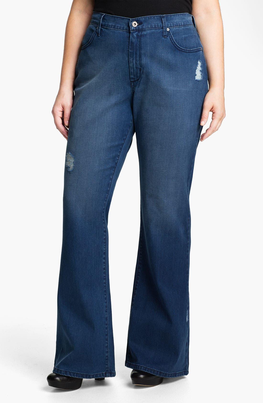 Alternate Image 1 Selected - James Jeans Broken In High Rise Flare Leg Jeans (Plus)
