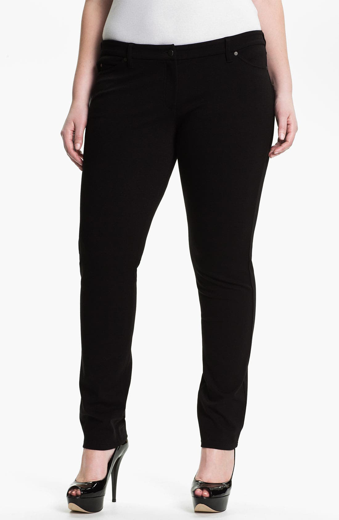Alternate Image 1 Selected - Eileen Fisher Skinny Ponte Knit Pants (Plus)