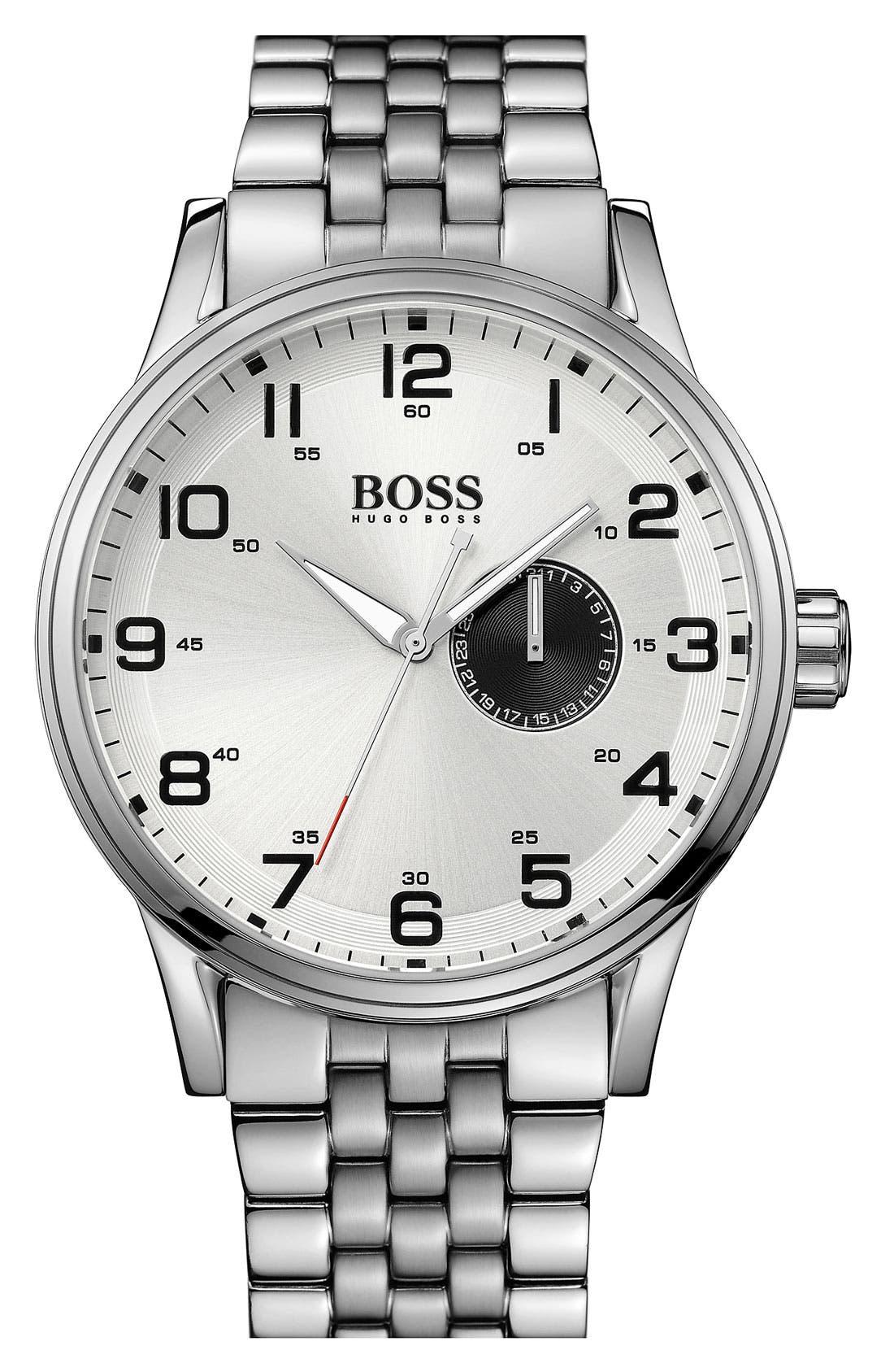 Main Image - BOSS HUGO BOSS 'Aviator' Round Bracelet Watch, 44mm