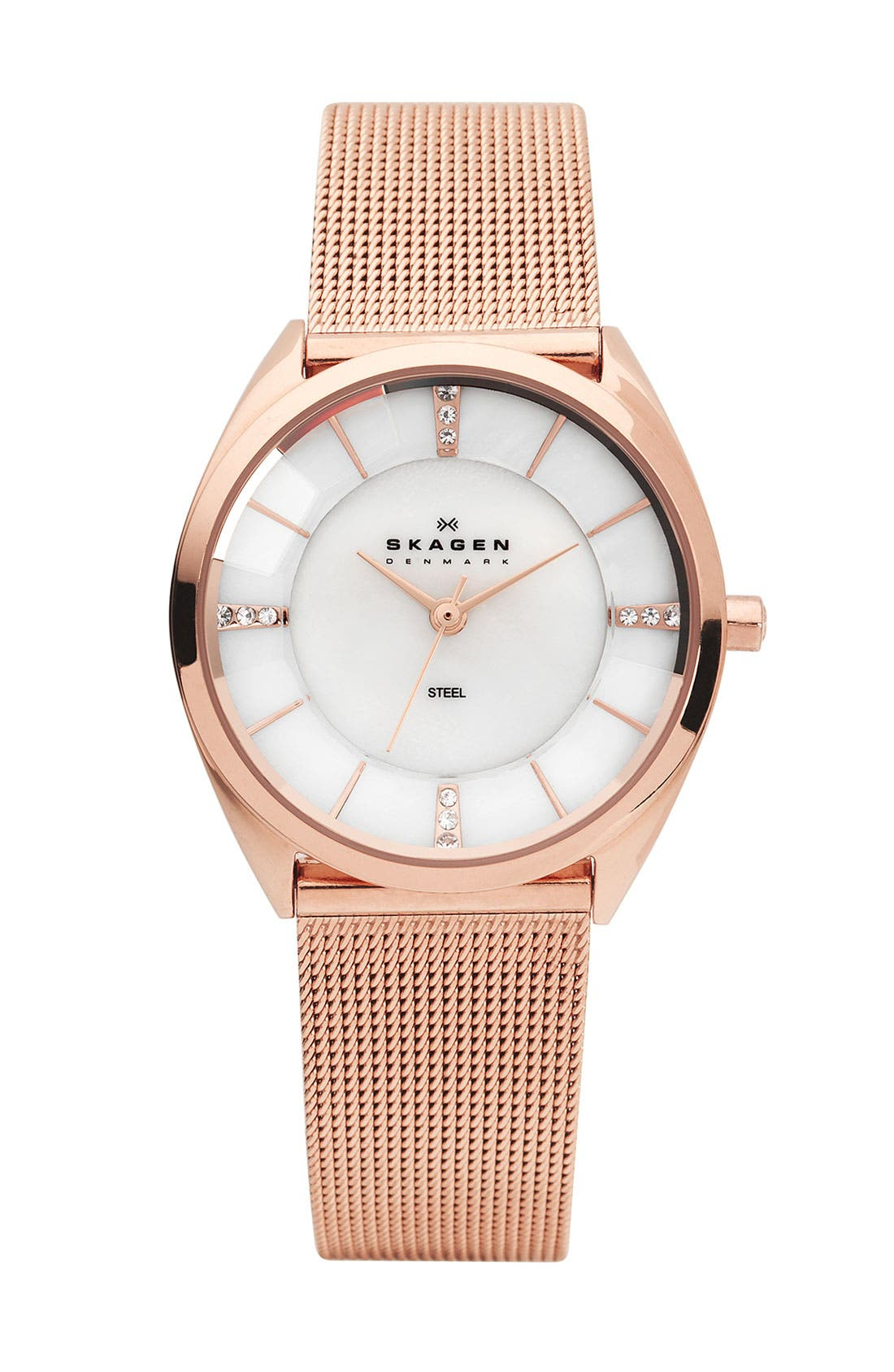 Alternate Image 1 Selected - Skagen Round Faceted Crystal Face Watch
