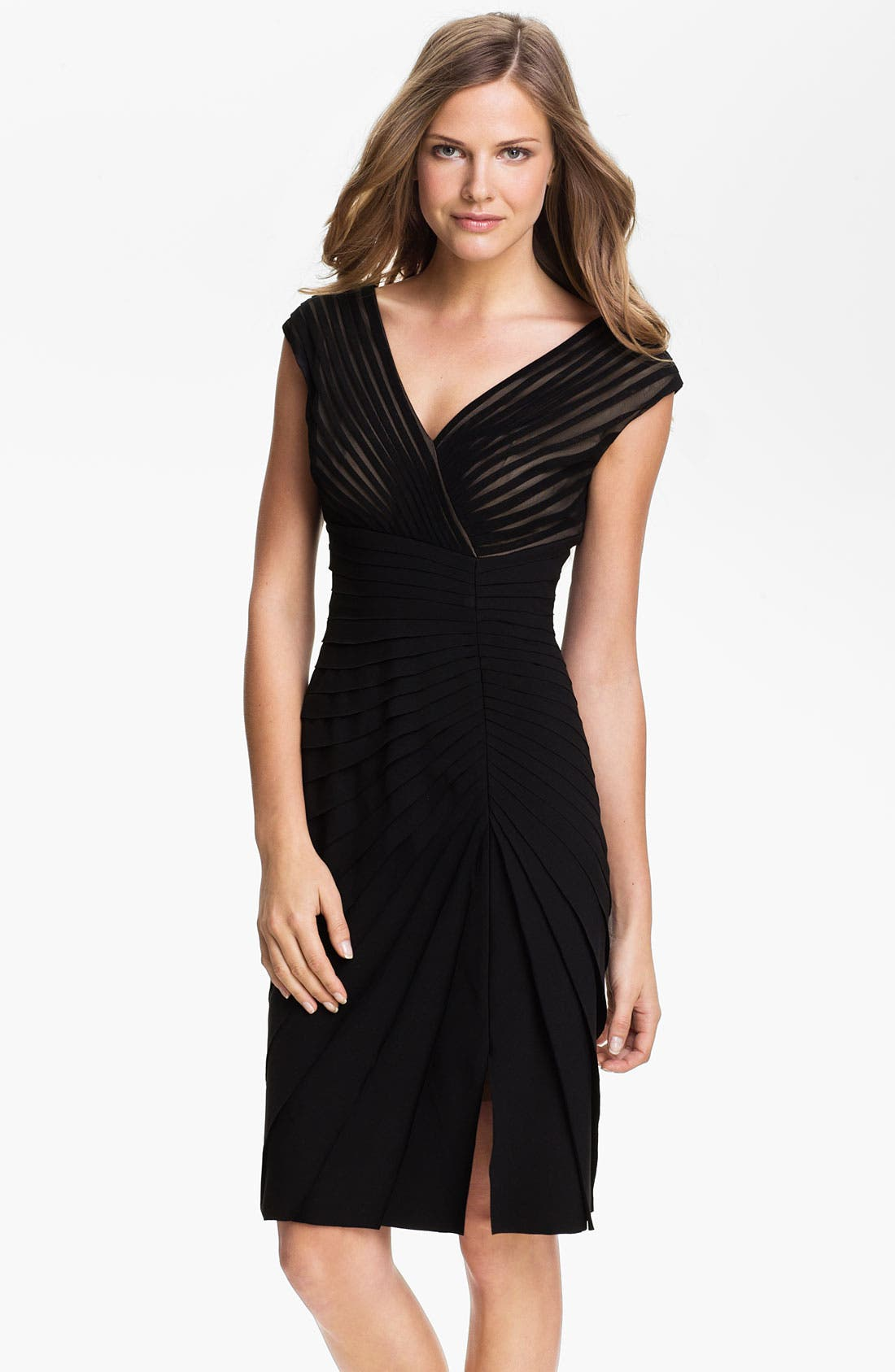 Alternate Image 1 Selected - Adrianna Papell Side Seam Pleated Sheath Dress (Petite)