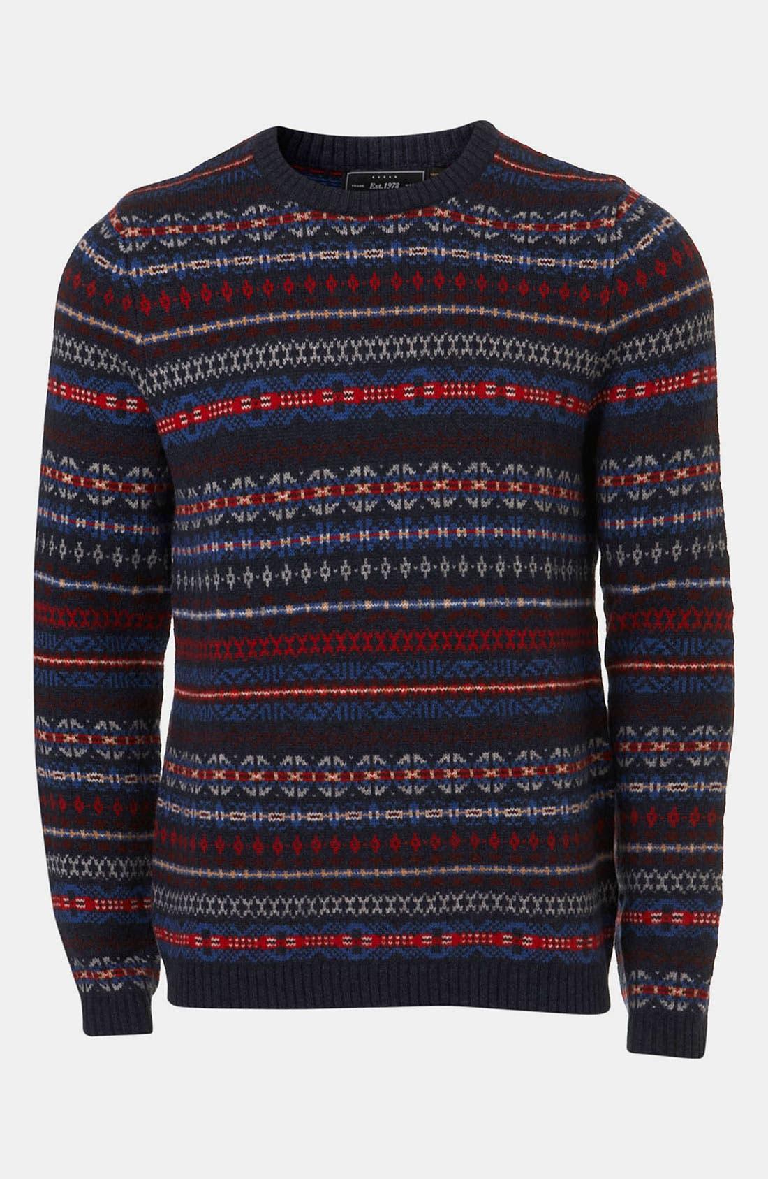 Main Image - Topman Fair Isle Crewneck Sweater