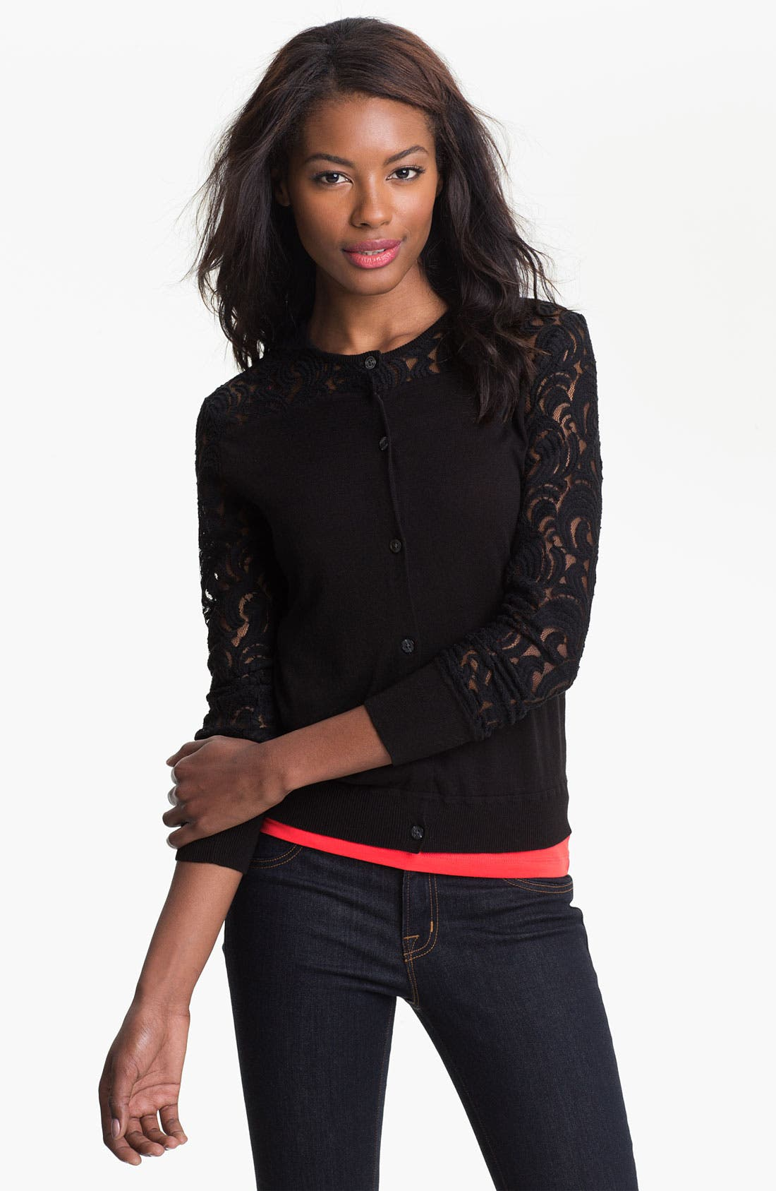 Alternate Image 1 Selected - DKNYC Lace Inset Cardigan