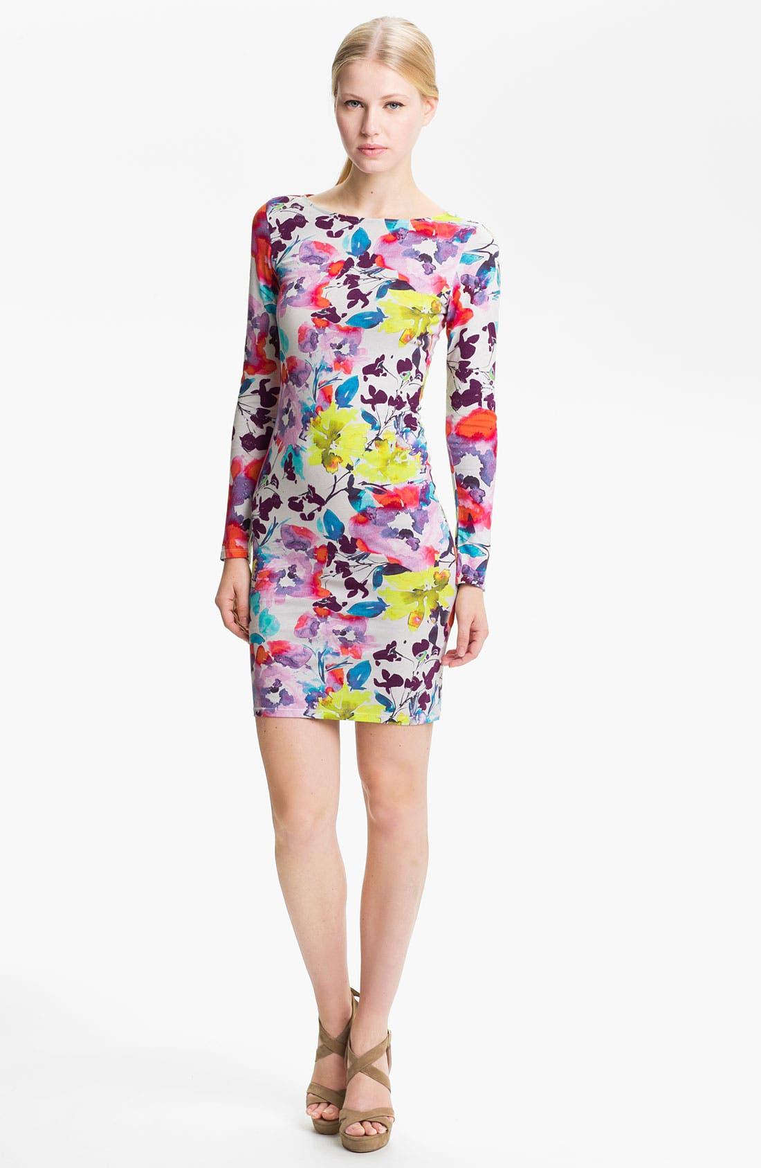 Main Image - Alice + Olivia 'Tabitha' Floral Print Jersey Dress