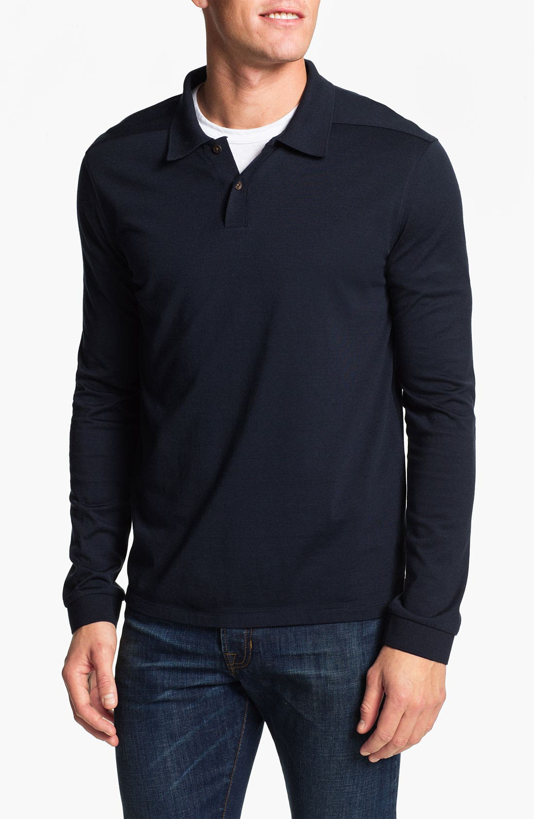 Main Image - Vince Long Sleeve Silk & Cotton Polo
