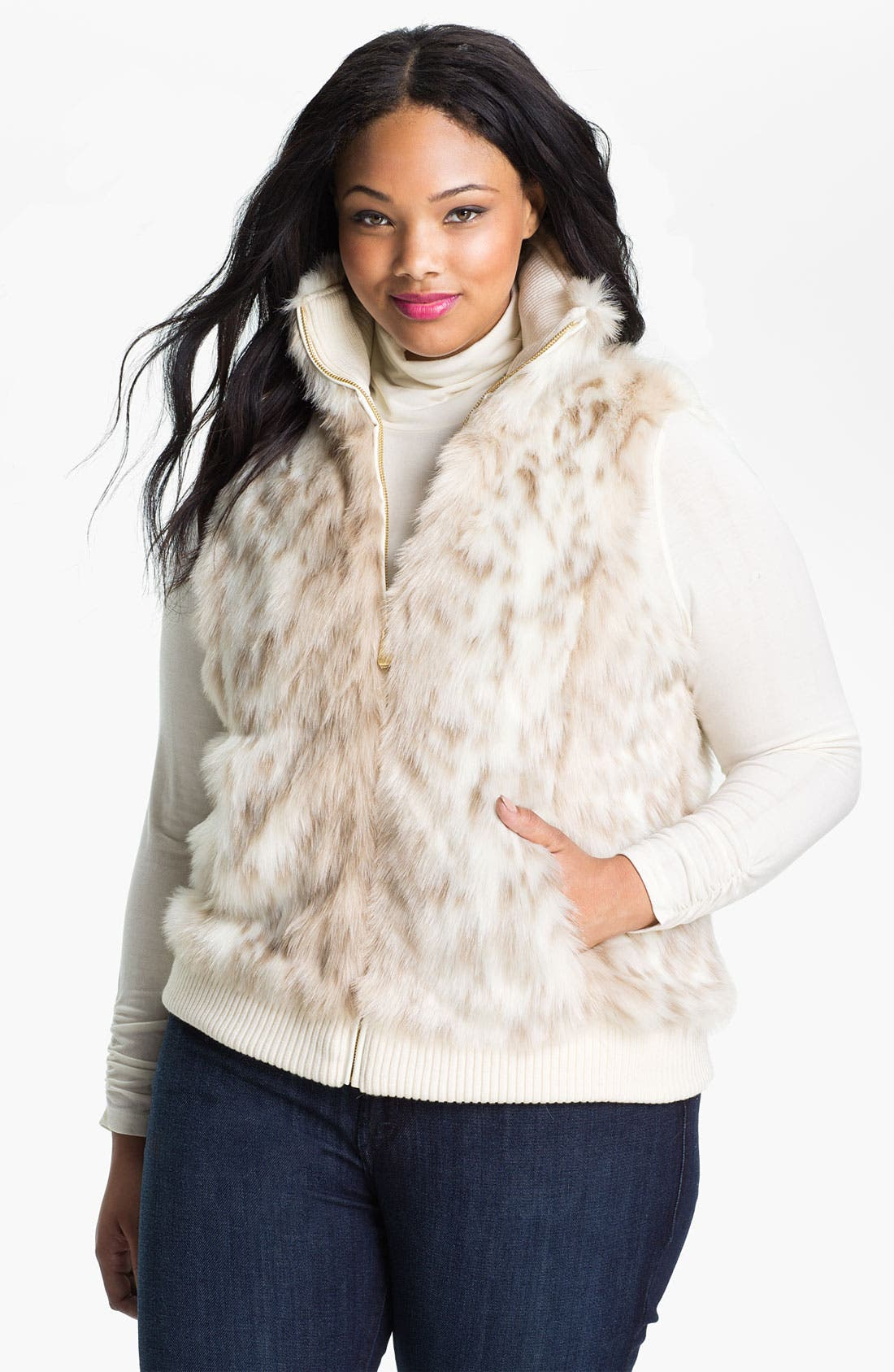 Alternate Image 1 Selected - Ellen Tracy Faux Snow Leopard Fur Vest (Plus)