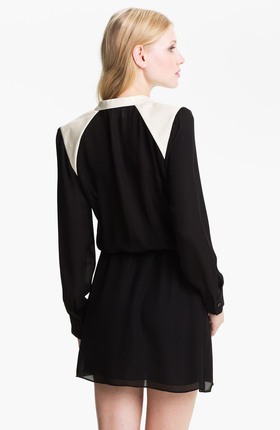 Alternate Image 2  - Parker Zip Neck Colorblock Silk Dress