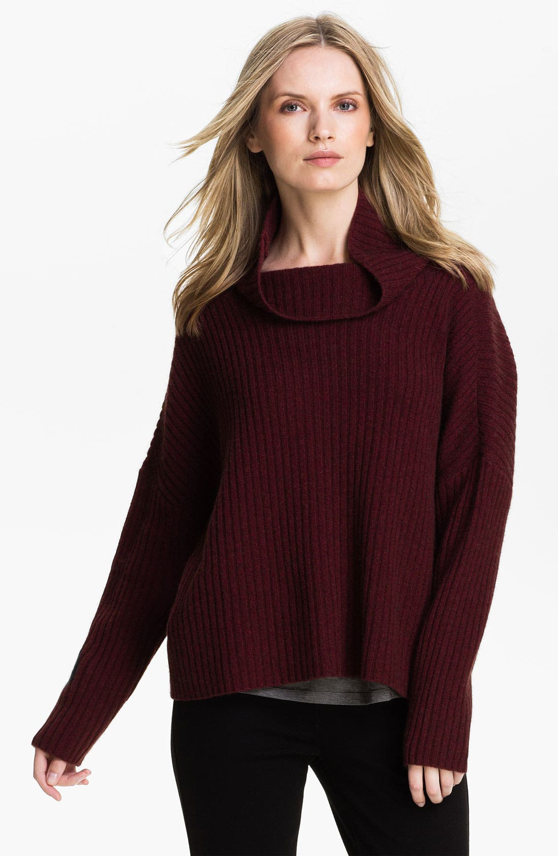 Main Image - Eileen Fisher Funnel Neck Ribbed Sweater (Online Exclusive)