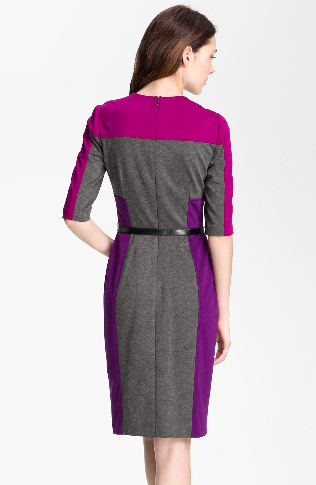 Alternate Image 2  - Maggy London Colorblock Ponte Sheath Dress (Petite)