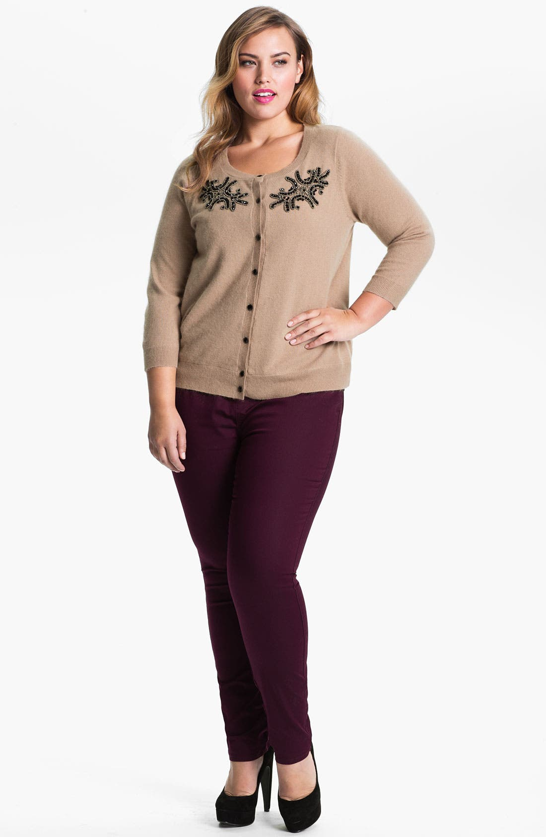 Alternate Image 3  - Evans Corsage Cardigan (Plus Size)
