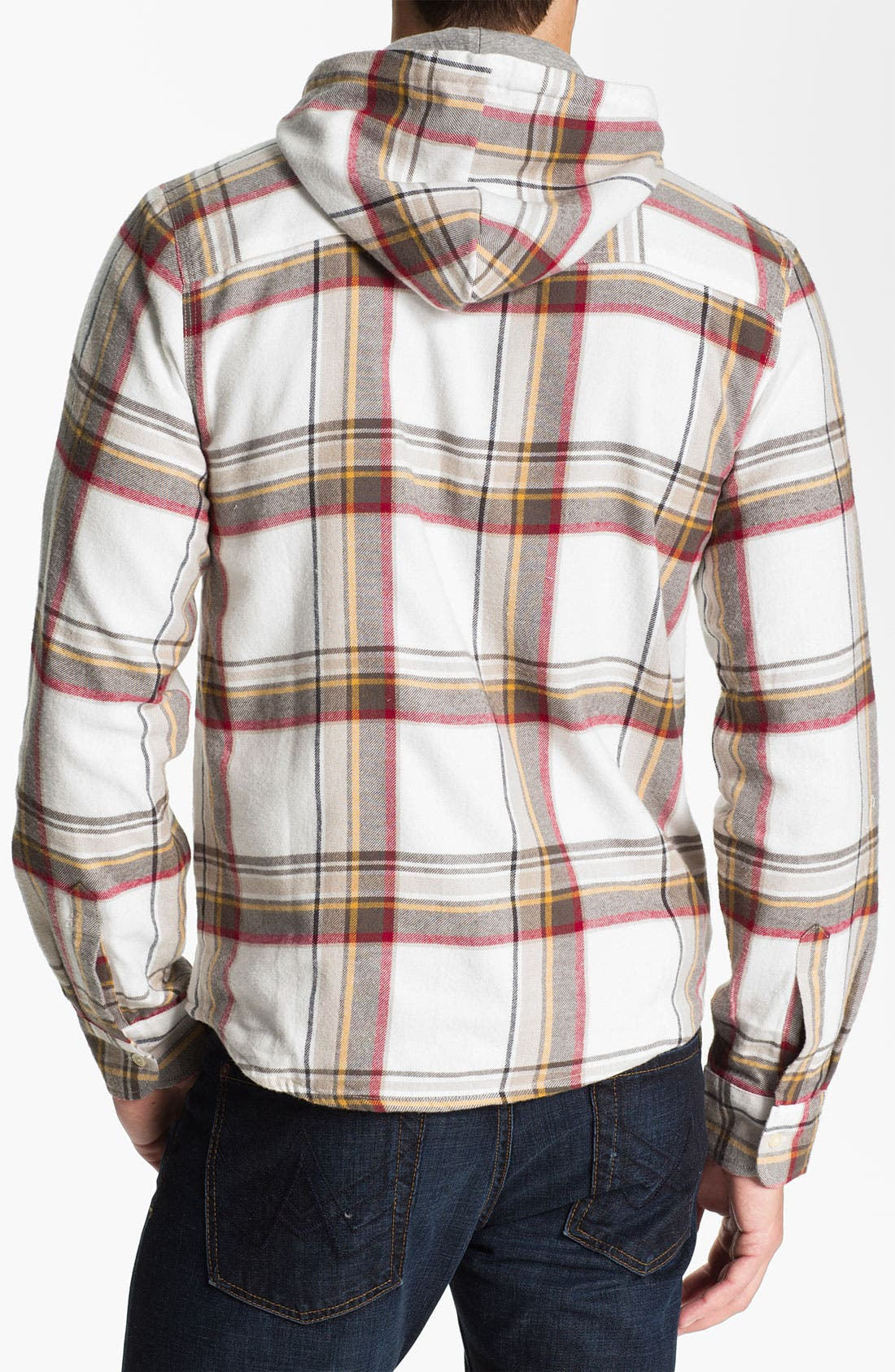 Alternate Image 2  - Threads for Thought Plaid Flannel Shirt with Removable Hood