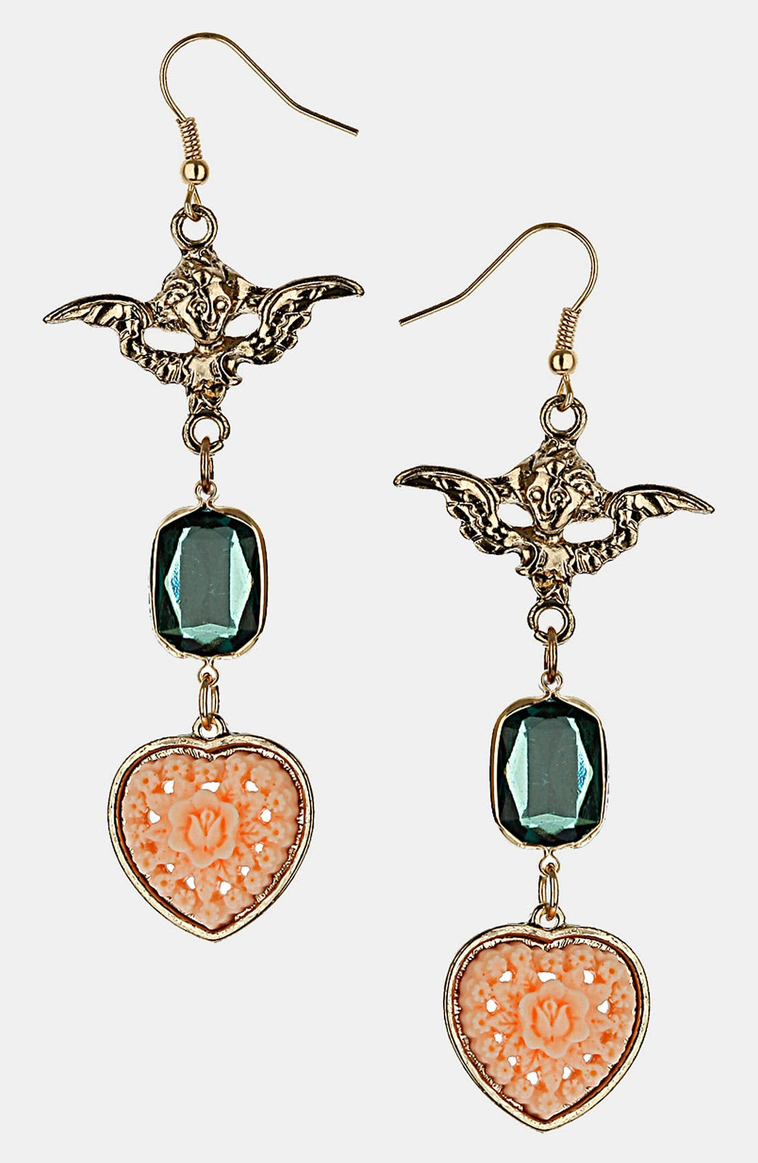 Main Image - Topshop 'Cherub' Heart Earrings