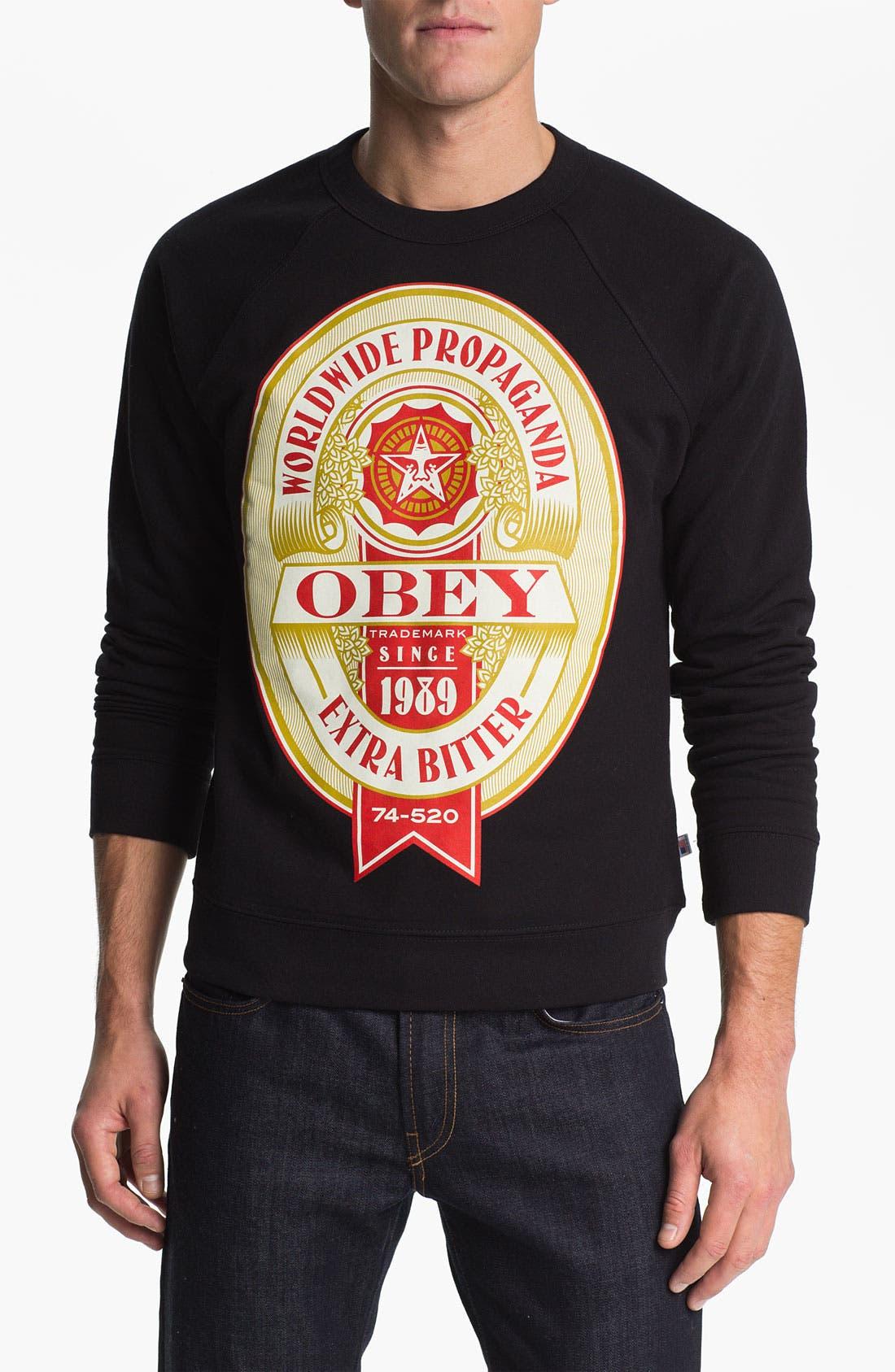 Alternate Image 1 Selected - Obey 'Extra Bitter' Crewneck Fleece Sweatshirt