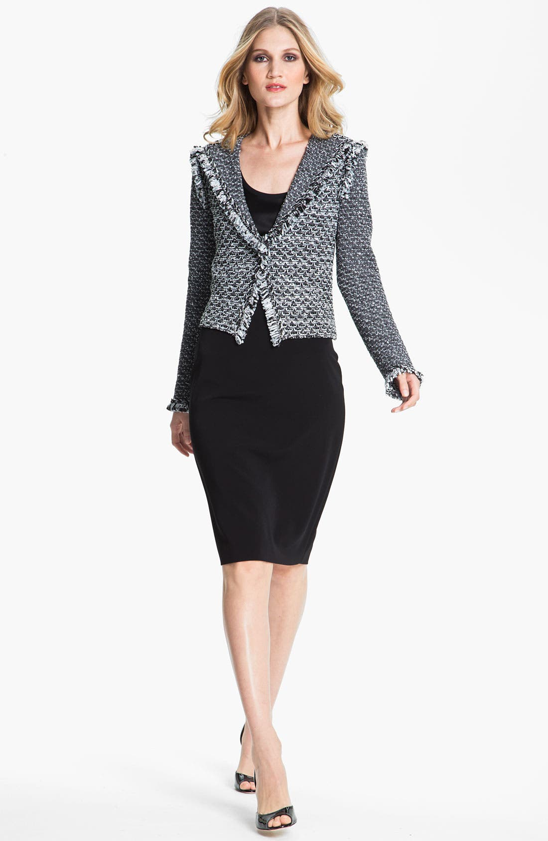 Main Image - St. John Collection Fringe Trim Tweed Jacket