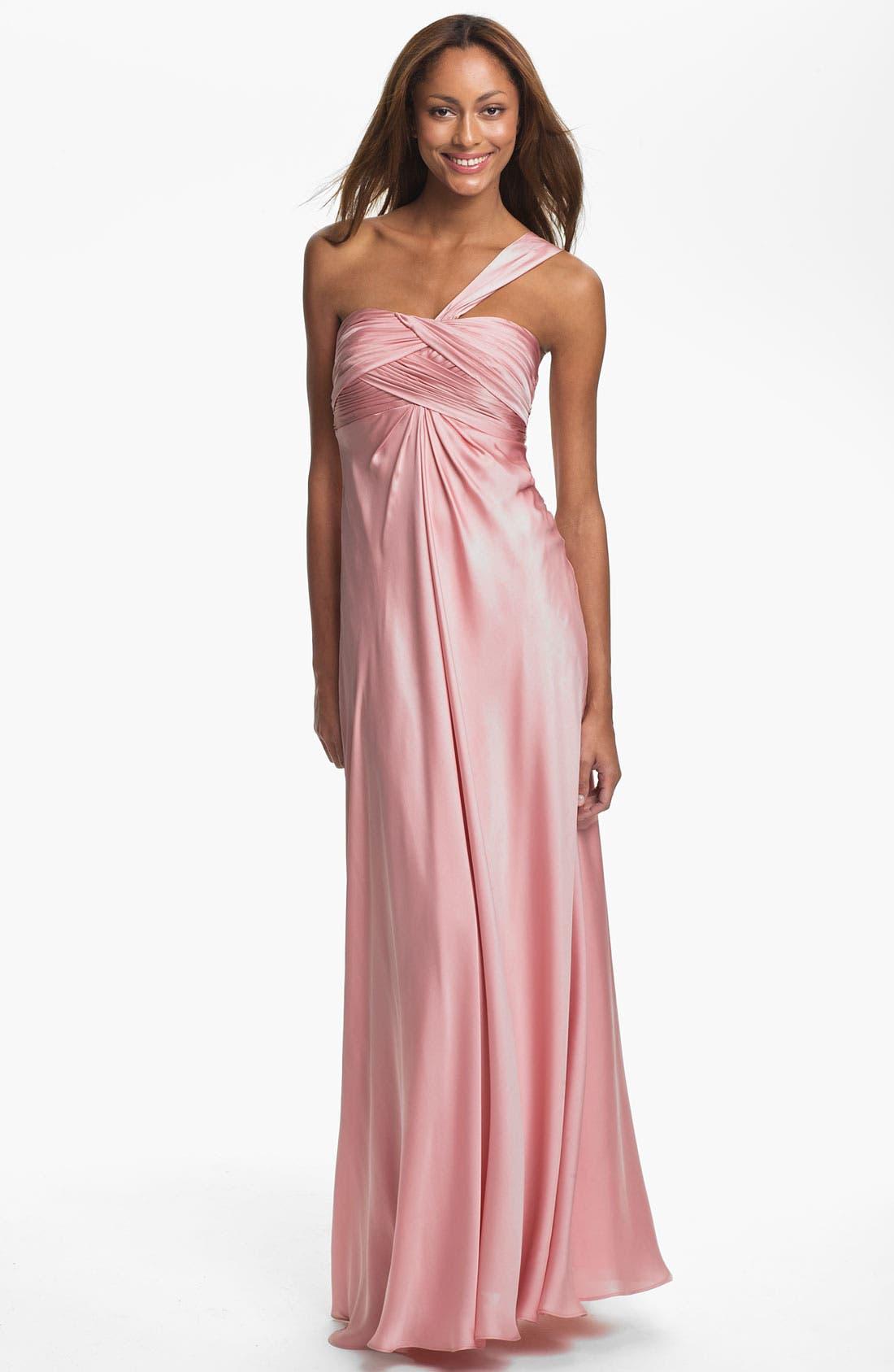 Main Image - ML Monique Lhuillier Bridesmaids One Shoulder Gown (Nordstrom Exclusive)