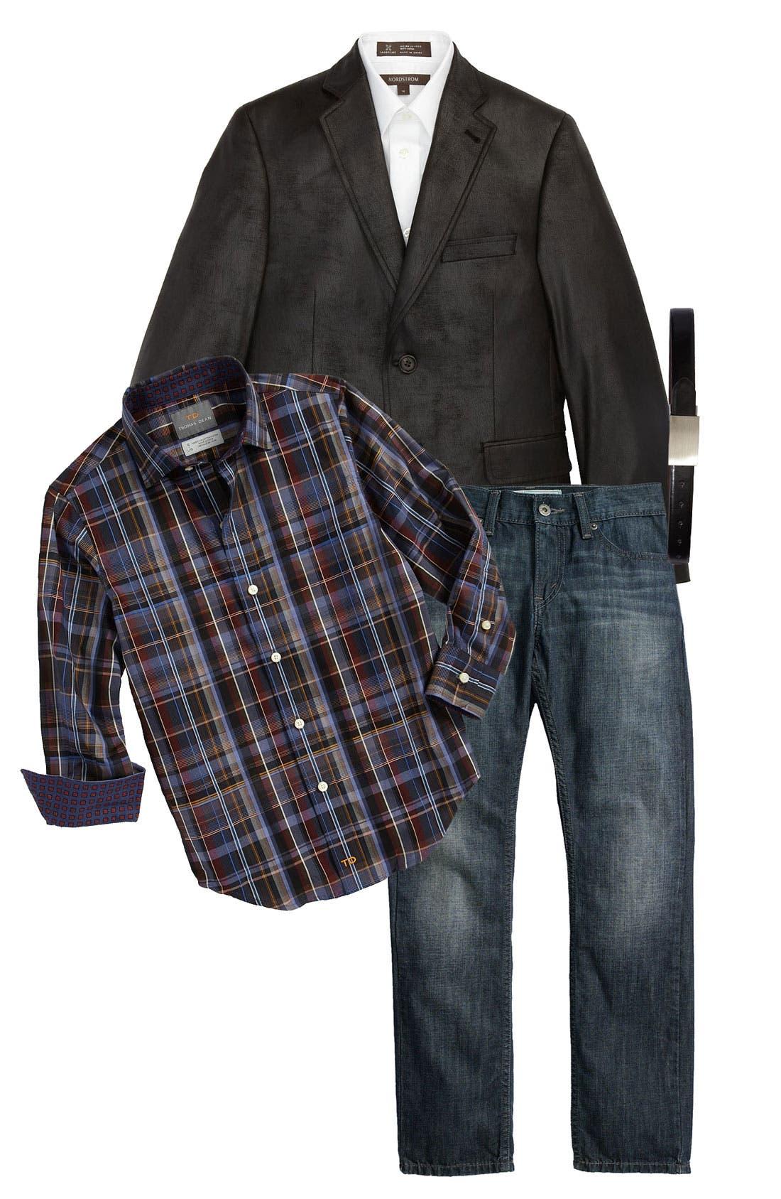 Alternate Image 1 Selected - Joseph Abboud Blazer, Thomas Dean Dress Shirt & Levi's® Jeans (Big Boys)
