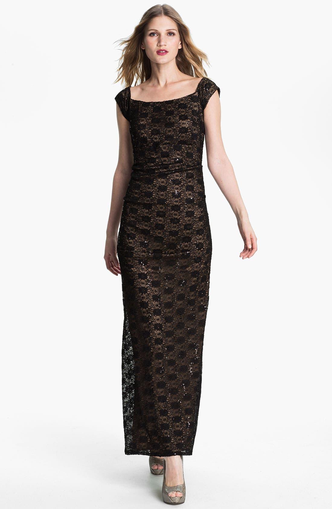 Main Image - Alex Evenings Cap Sleeve Lace Column Gown
