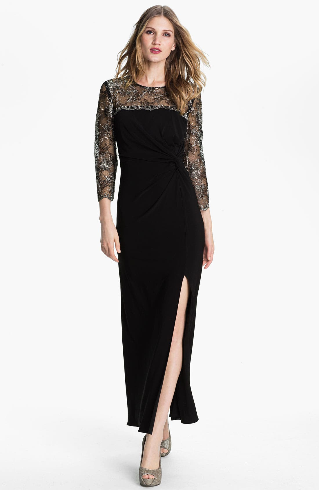 Main Image - Alex Evenings Metallic Lace & Jersey Column Gown