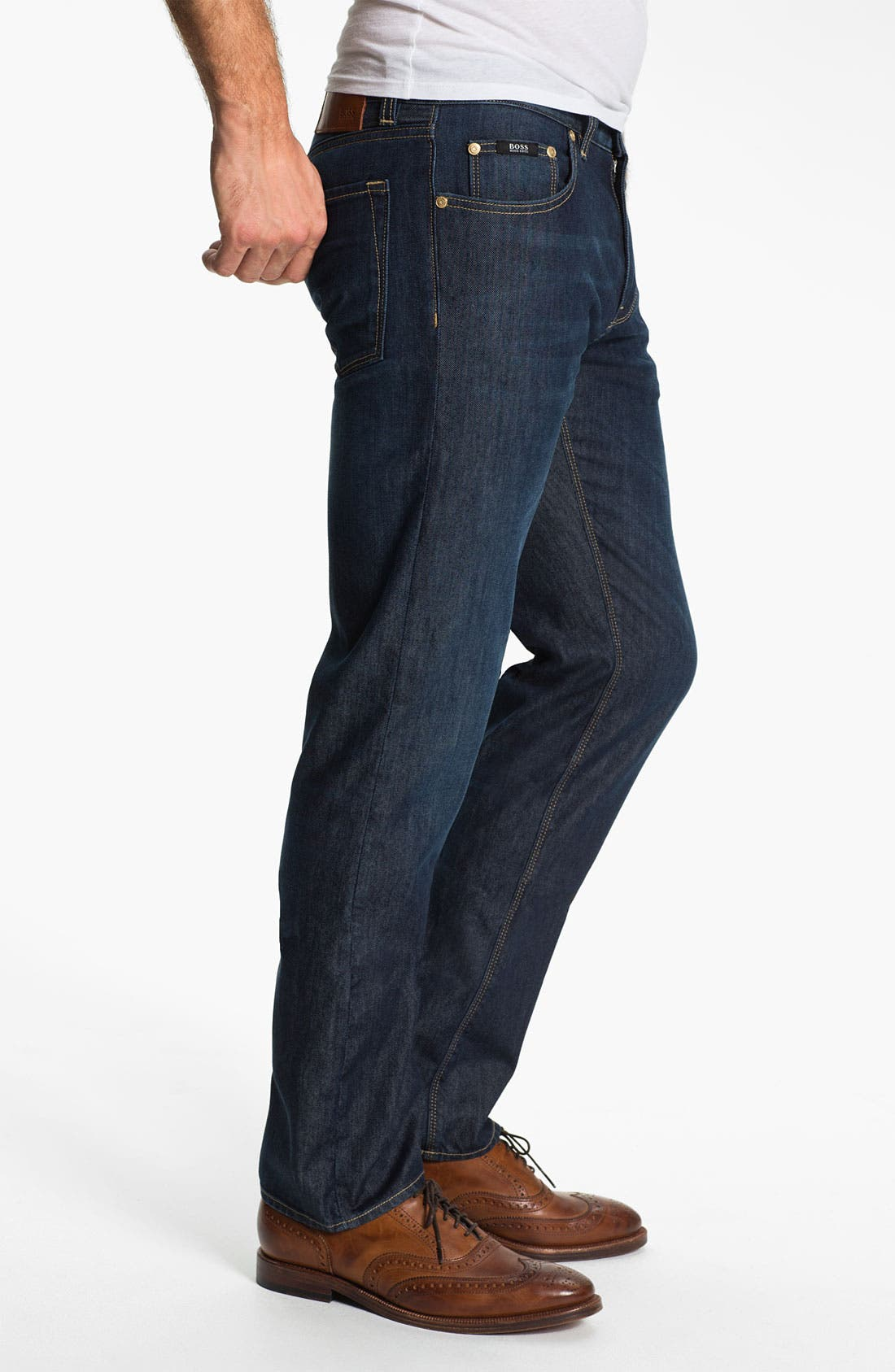 Alternate Image 3  - BOSS Black 'Maine' Straight Leg Jeans (Blue Flannel)