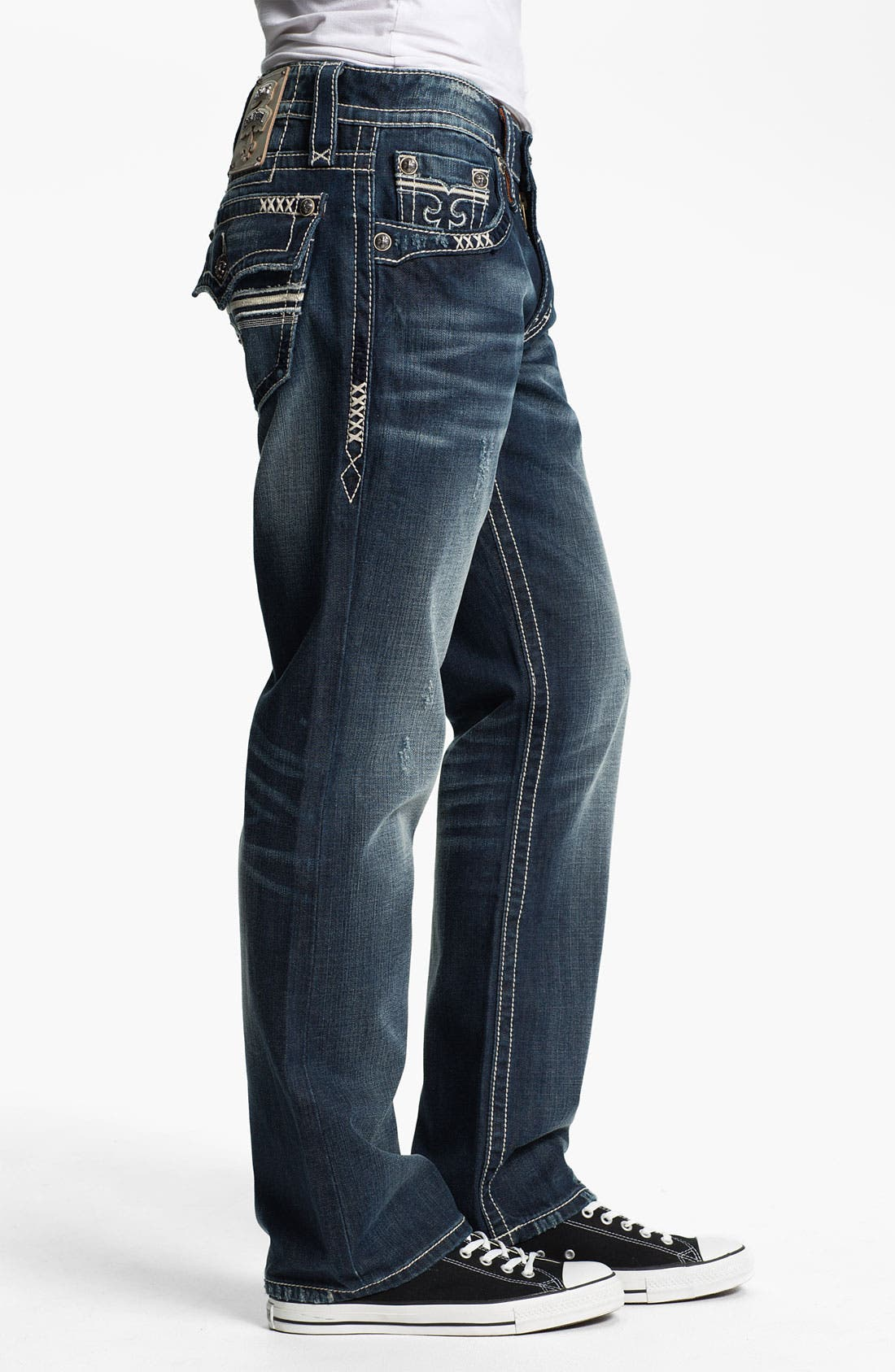 Alternate Image 3  - Rock Revival 'Sebastian' Bootcut Jeans (Dark Blue)