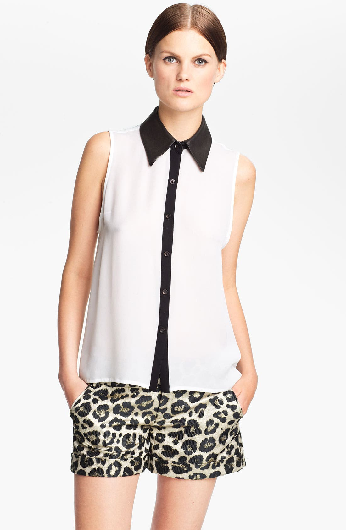 Main Image - Alice + Olivia 'Loira' Leather Collar Silk Blouse