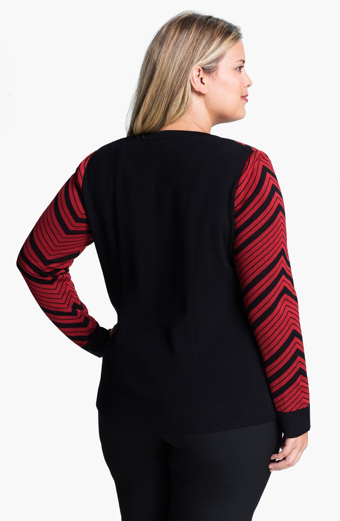 Alternate Image 2  - Exclusively Misook Jewel Neck Herringbone Pattern Jacket (Plus)