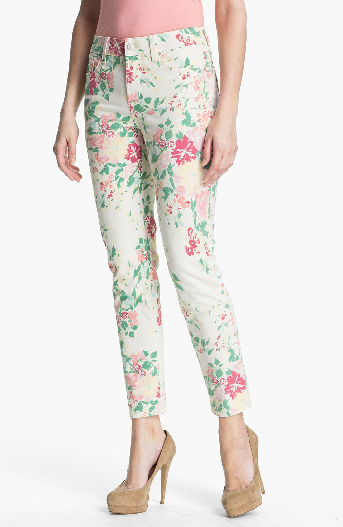 Main Image - NYDJ 'Alisha' Floral Print Skinny Stretch Ankle Jeans