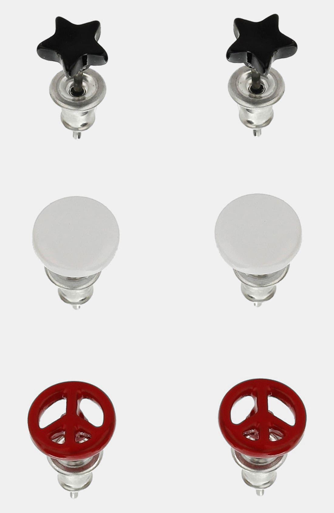 Alternate Image 1 Selected - Topman Disc Stud Earrings (Set of 3)