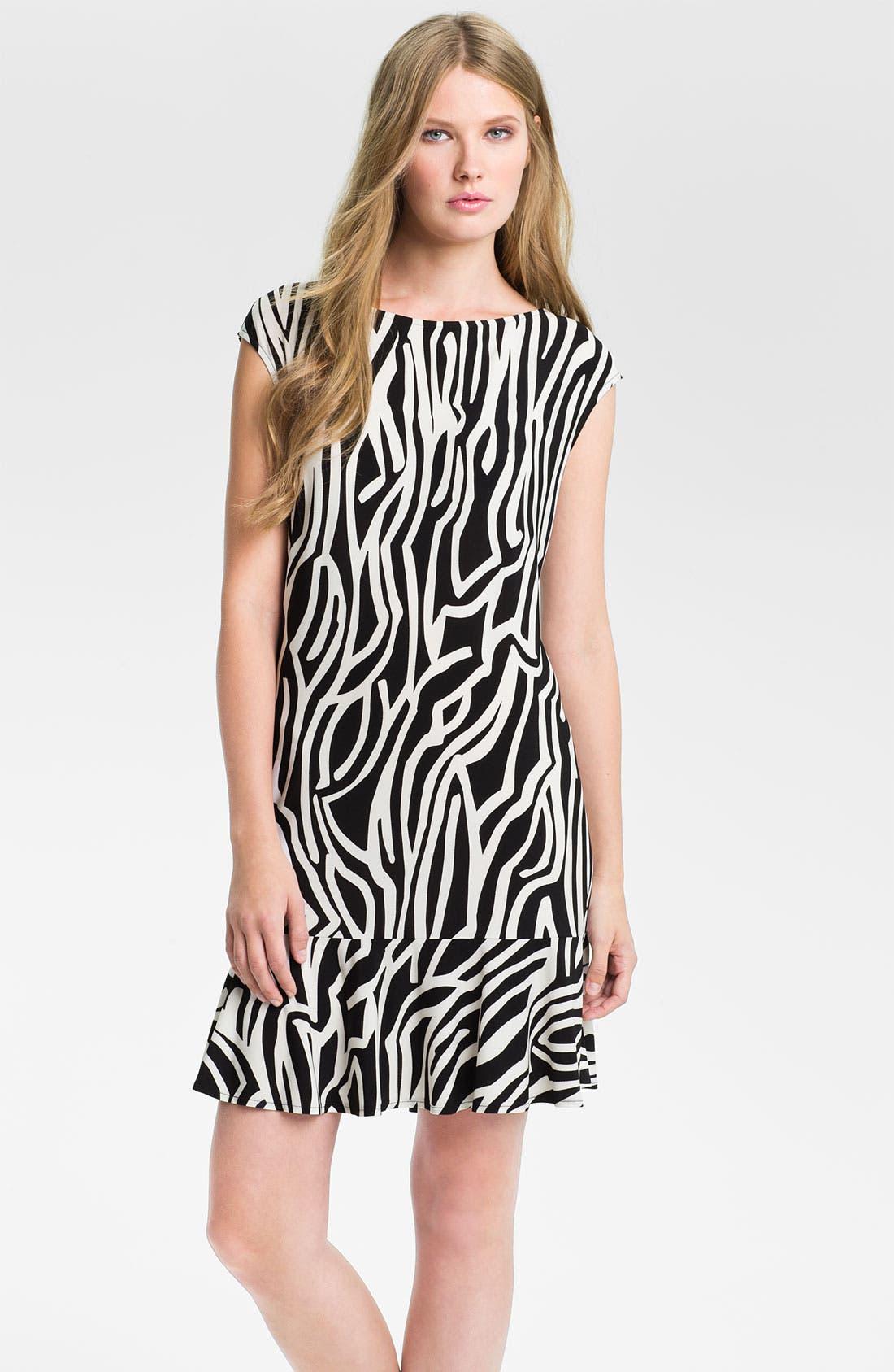 Main Image - Donna Morgan Print Cap-Sleeve Drop Waist Dress