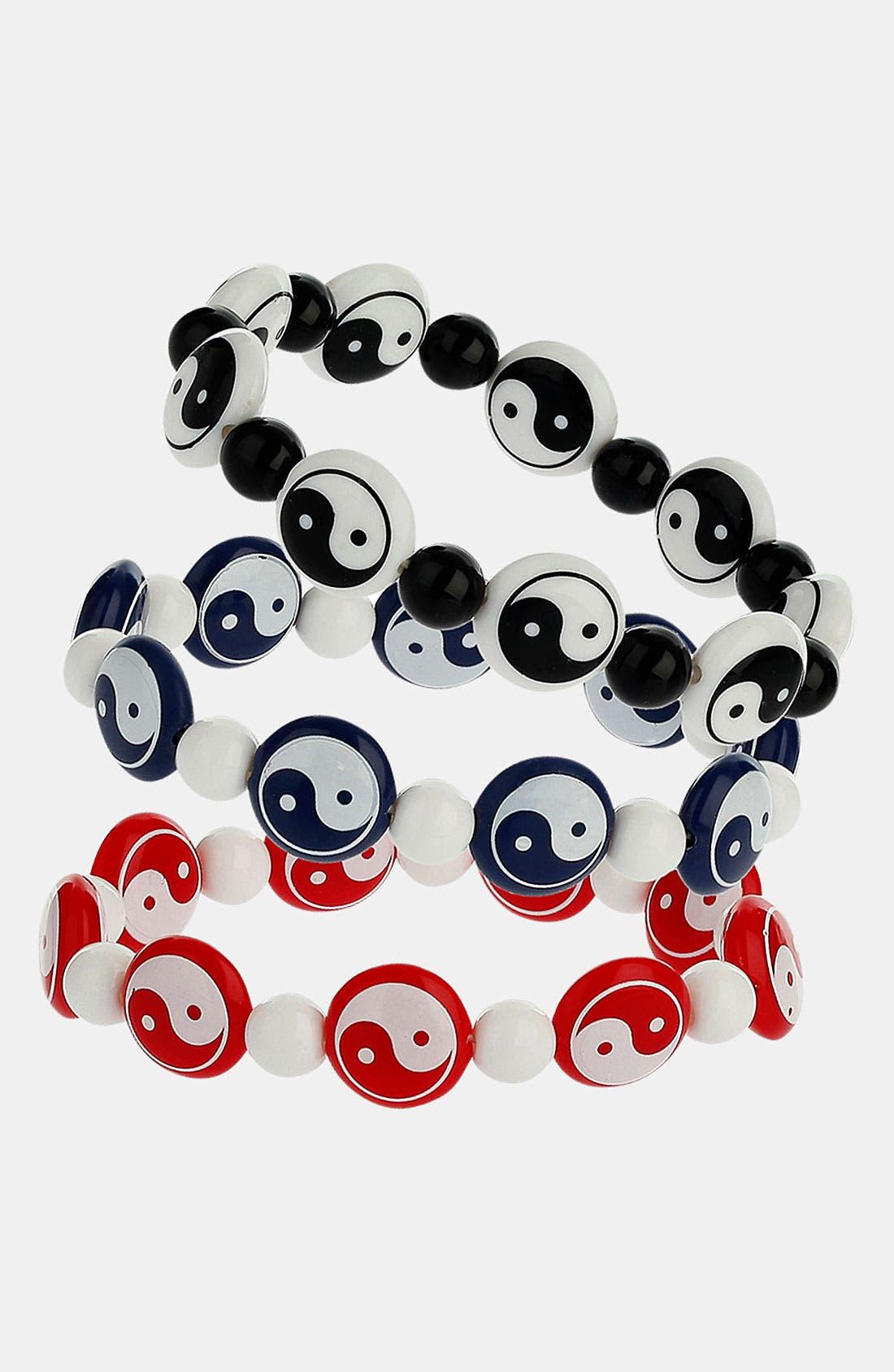 Main Image - Topman 'Yin & Yang' Beaded Stretch Bracelets (Set of 3)