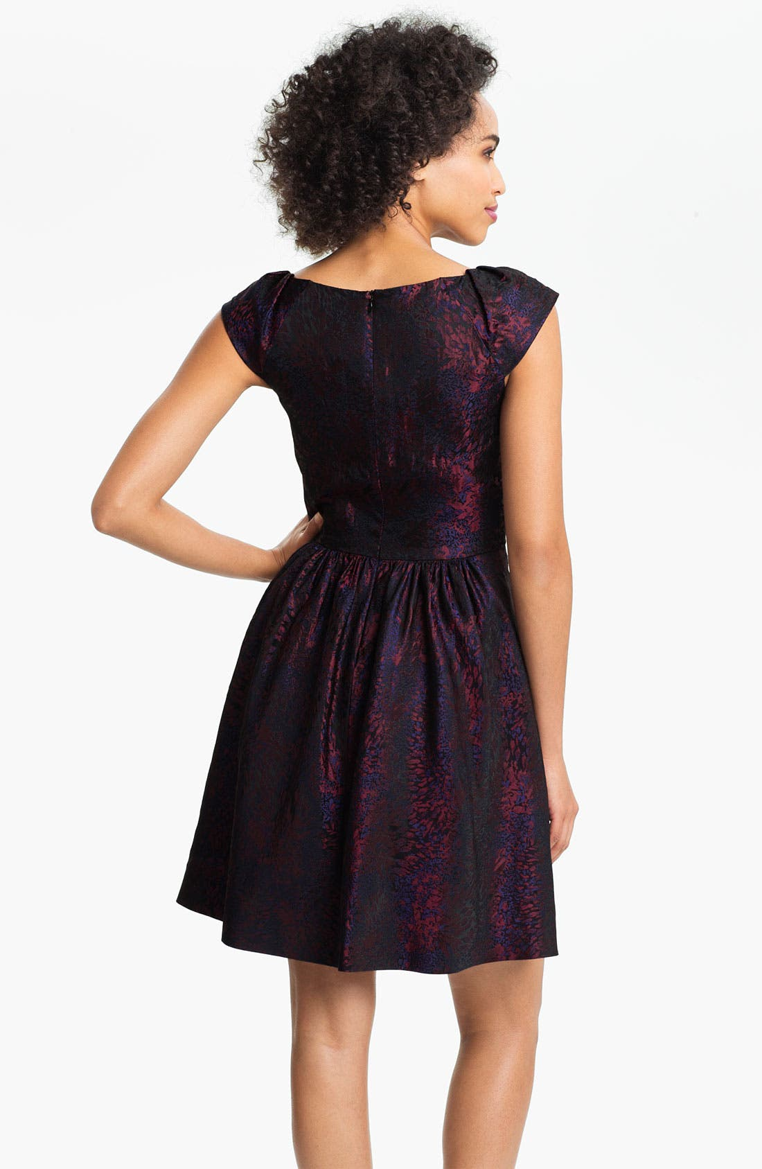 Alternate Image 2  - Suzi Chin for Maggy Boutique Cap Sleeve Brocade Fit & Flare Dress