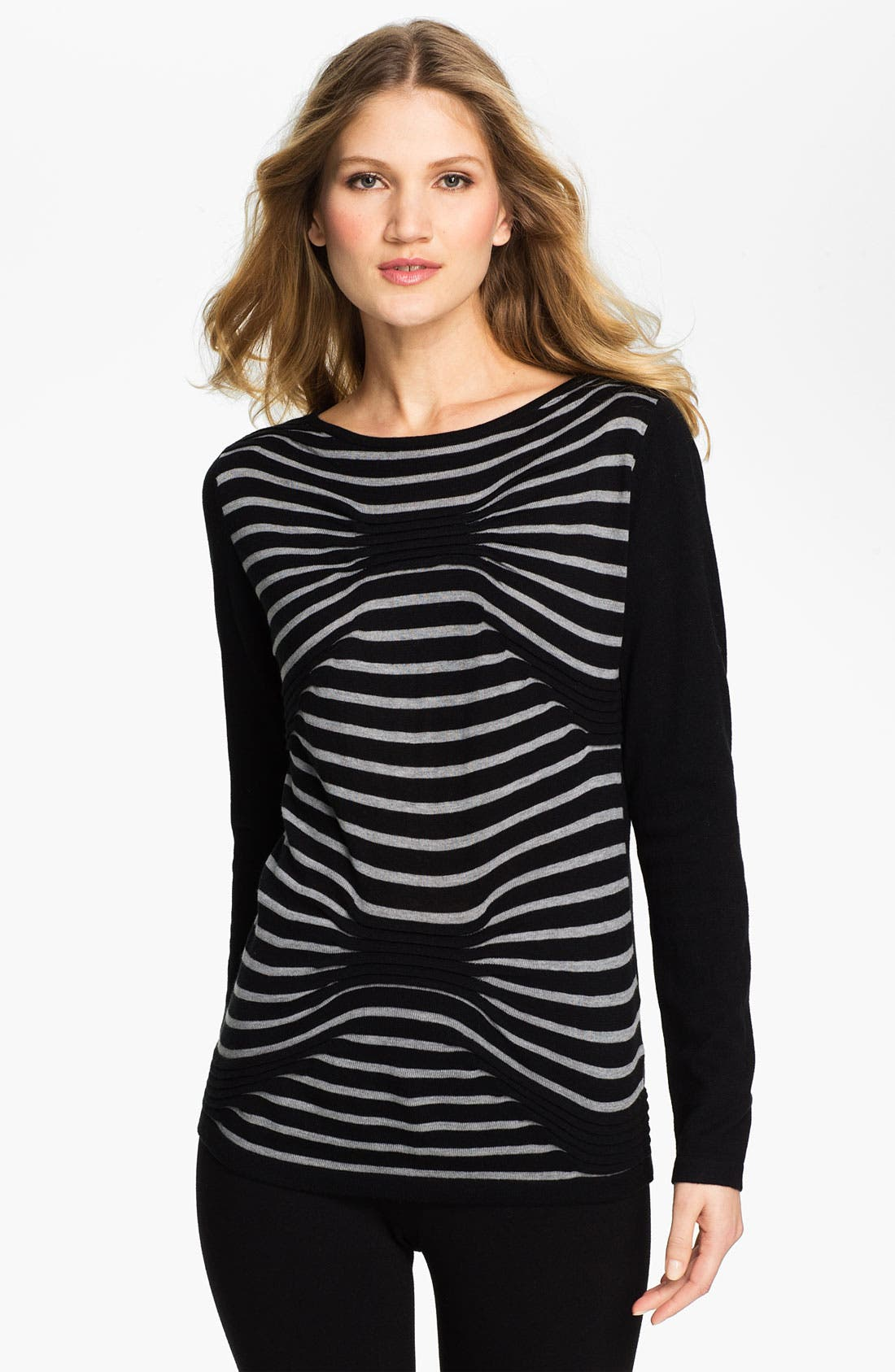Alternate Image 1 Selected - Beatrix Ost Stripe & Pleat Sweater (Online Exclusive)