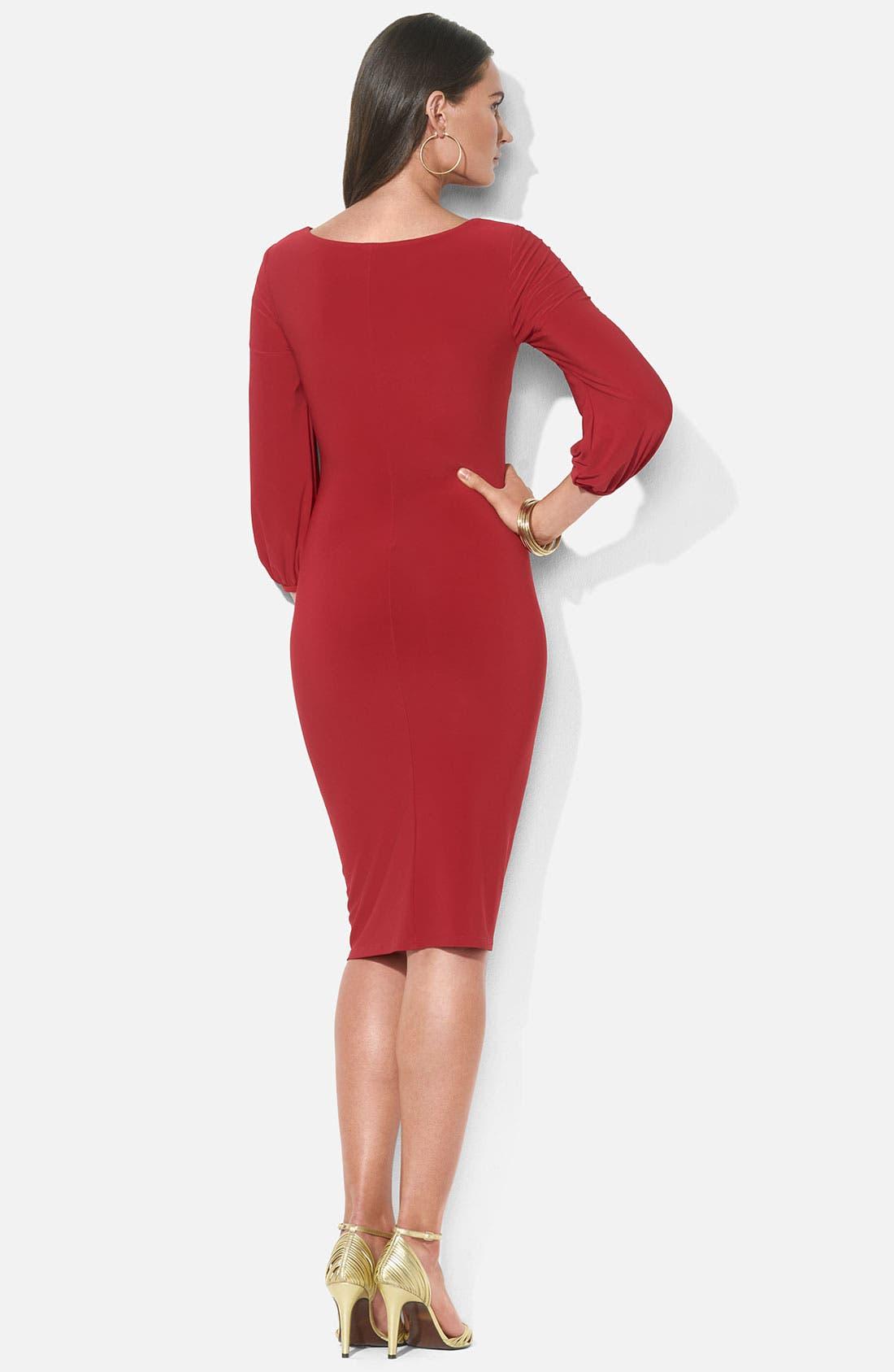 Alternate Image 2  - Lauren Ralph Lauren Blouson Sleeve Cowl Neck Jersey Dress