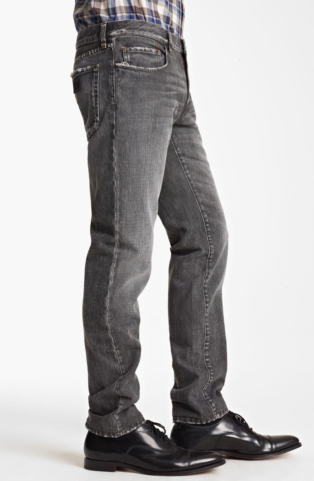 Alternate Image 3  - Dolce&Gabbana Slim Straight Leg Jeans (Dark Grey)