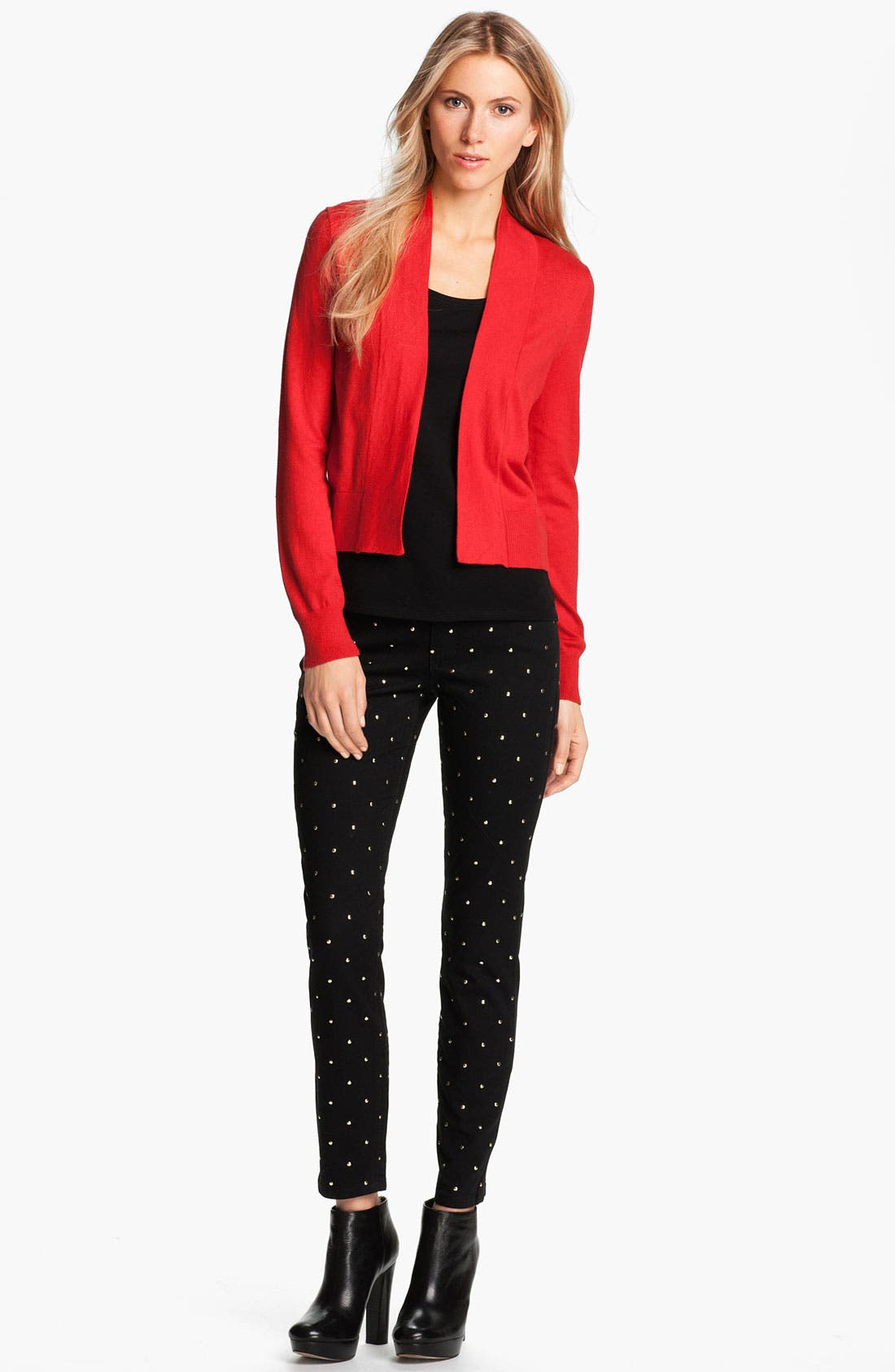 Alternate Image 1 Selected - MICHAEL Michael Kors Studded Skinny Jeans (Petite)