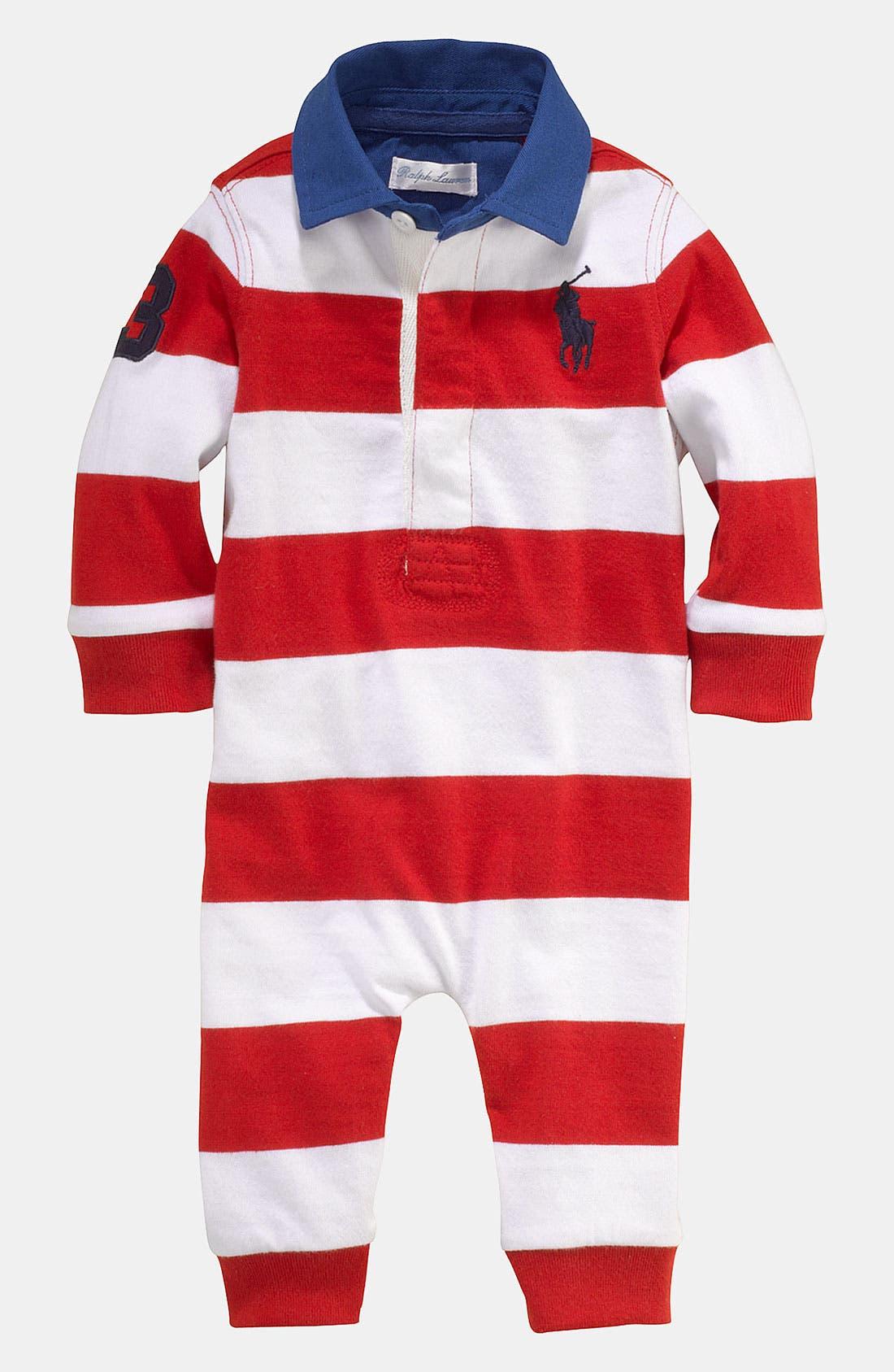 Alternate Image 1 Selected - Ralph Lauren Stripe Romper (Infant)