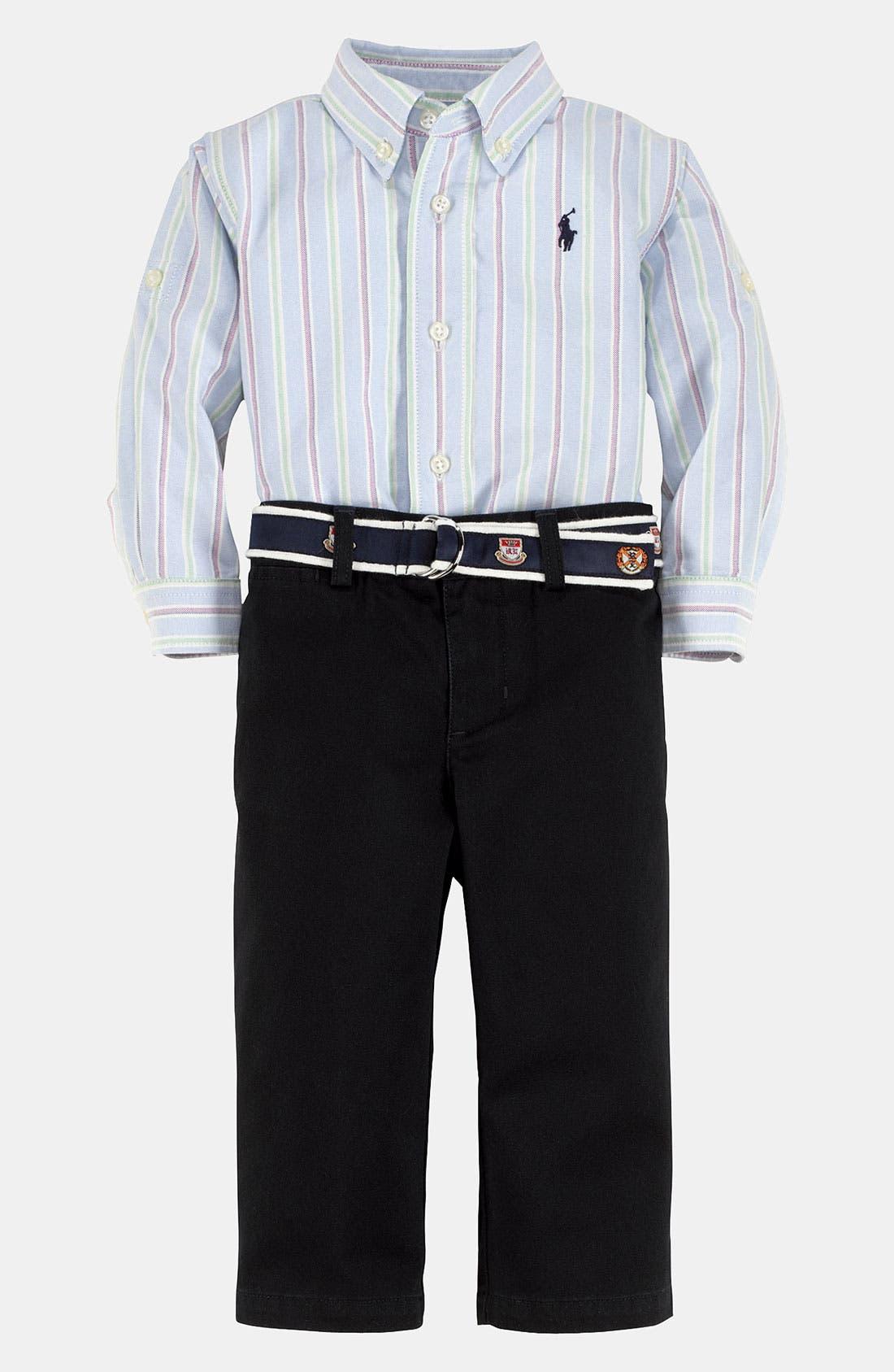 Alternate Image 1 Selected - Ralph Lauren Stripe Shirt & Pants (Infant)