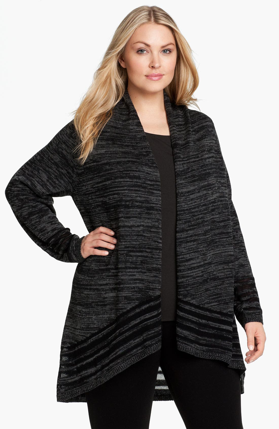 Alternate Image 1 Selected - Eileen Fisher Angled Front Cardigan (Plus)