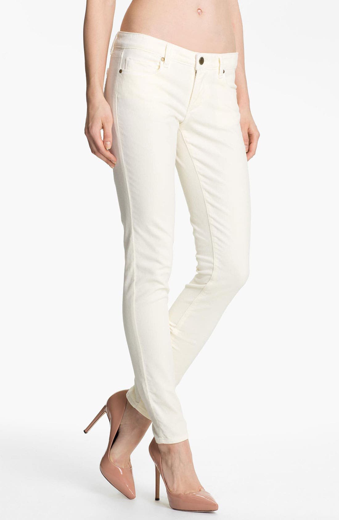 Main Image - Paige Denim 'Verdugo' Stretch Velvet Skinny Pants (Cream)