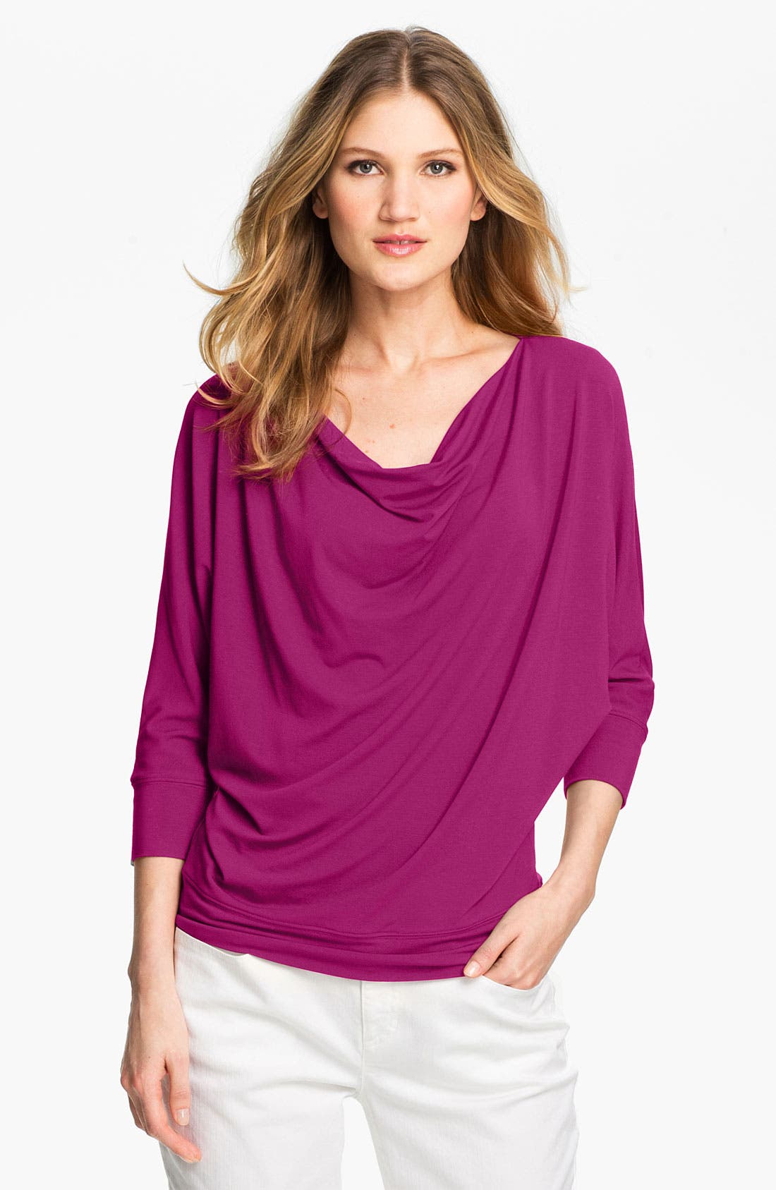 Main Image - Eileen Fisher Drape Neck Jersey Top