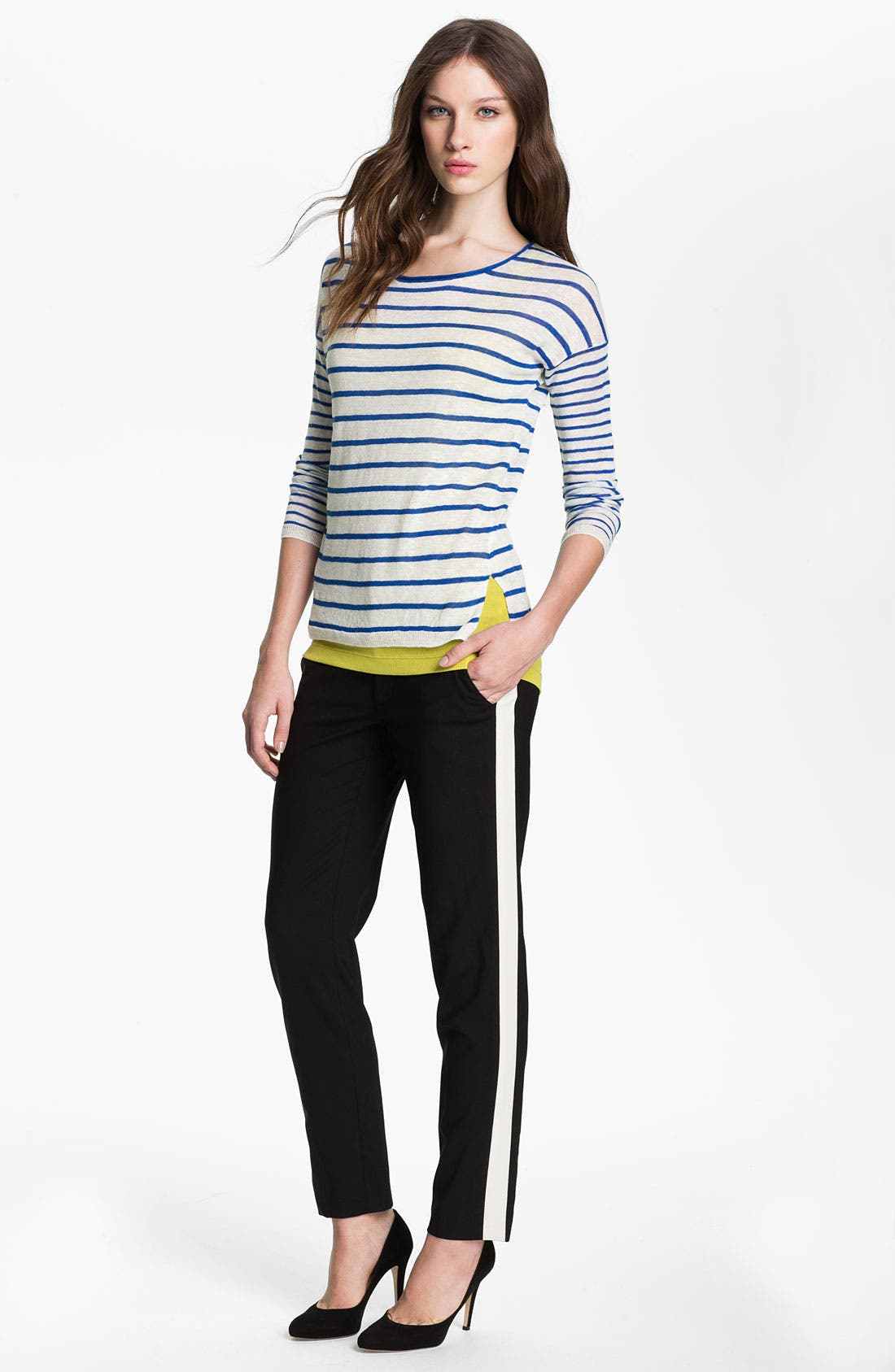 Alternate Image 1 Selected - Vince Mixed Stripe Sweater