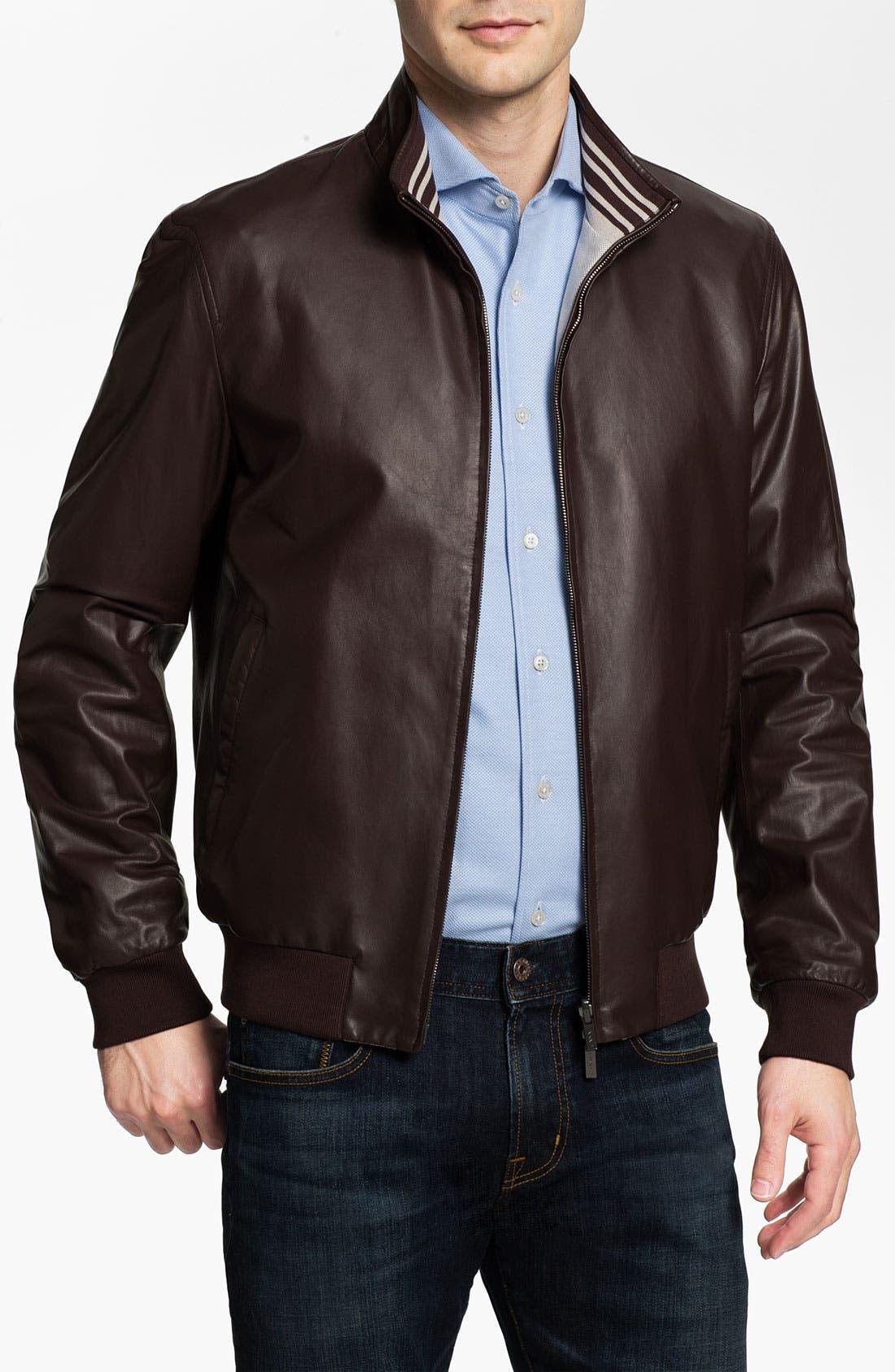 Main Image - Canali Reversible Leather Jacket