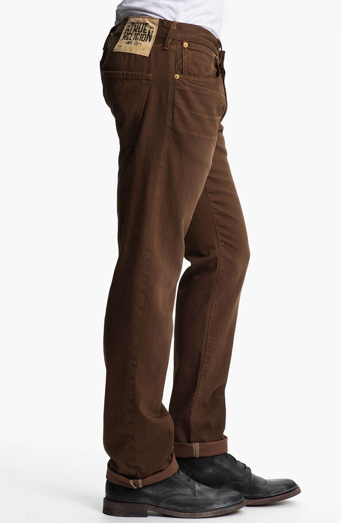 Alternate Image 3  - True Religion Brand Jeans 'Geno Blue Collar Crossroads' Slim Straight Leg Jeans (Kona Brown)