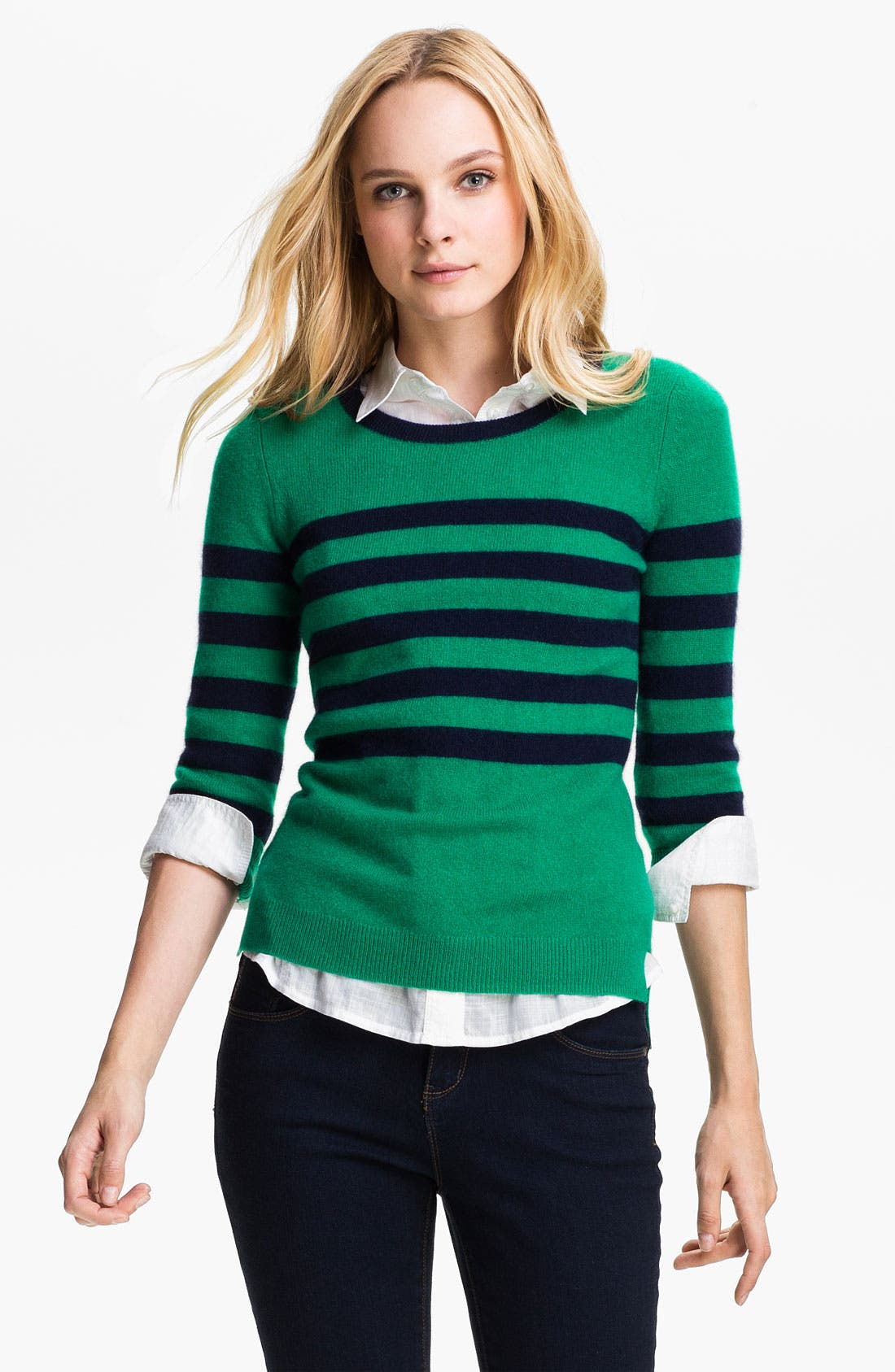 Alternate Image 1 Selected - Only Mine Stripe Cashmere Sweater (Petite)